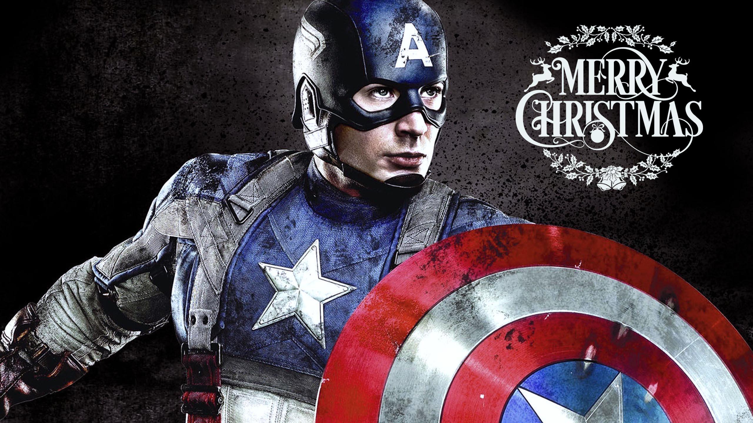 happy merry christmas greetings super hero captain america kids hd wallpaper