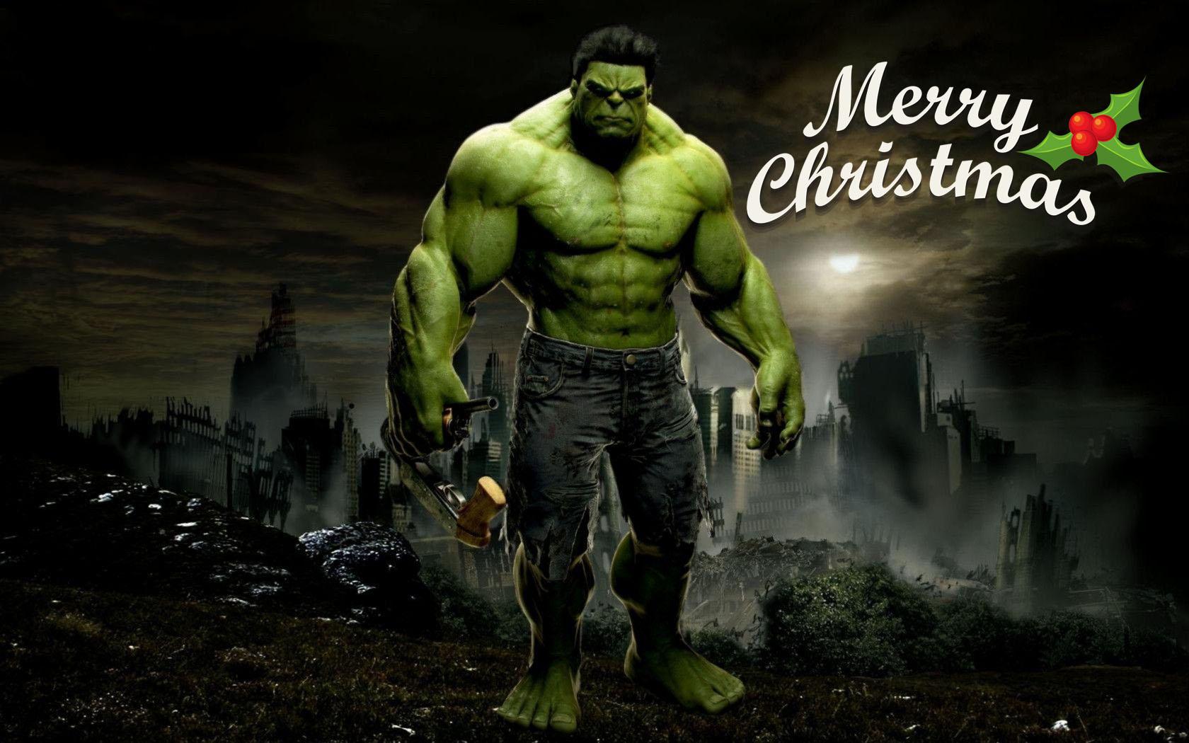 happy merry christmas greetings super hero hulk kids hd wallpaper