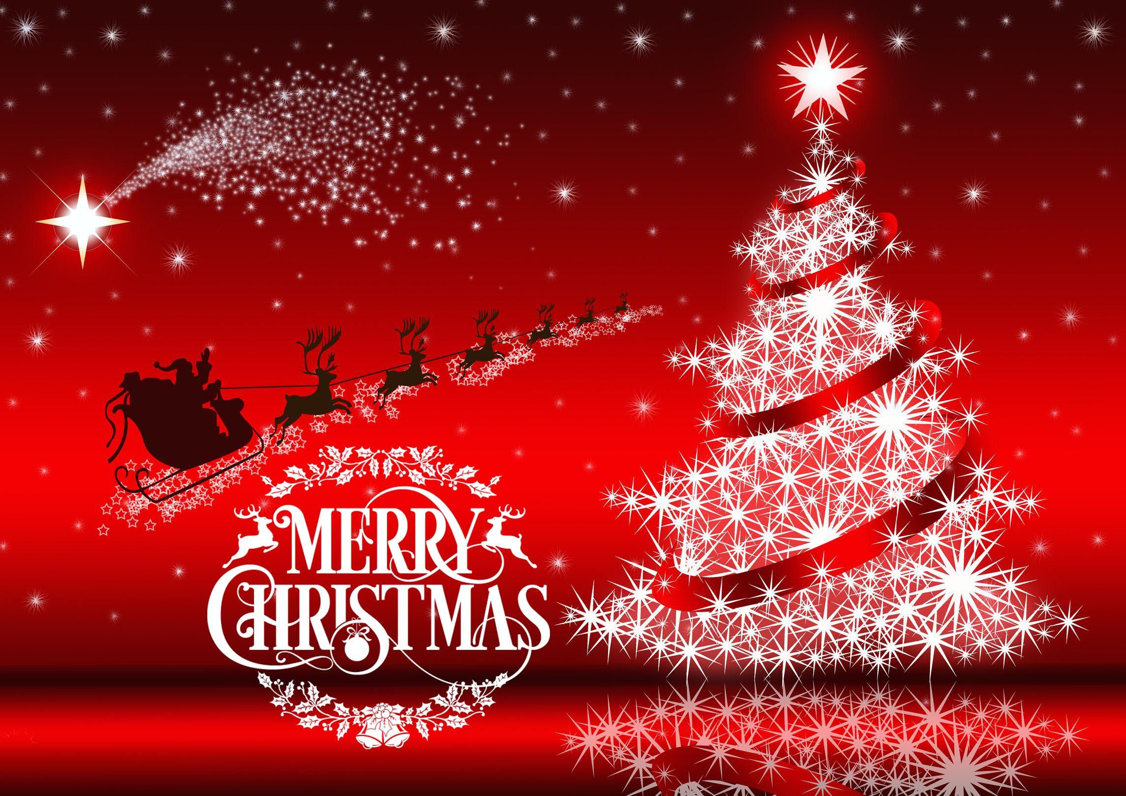 happy merry christmas wishes greetings santa rein deer hd wallpaper