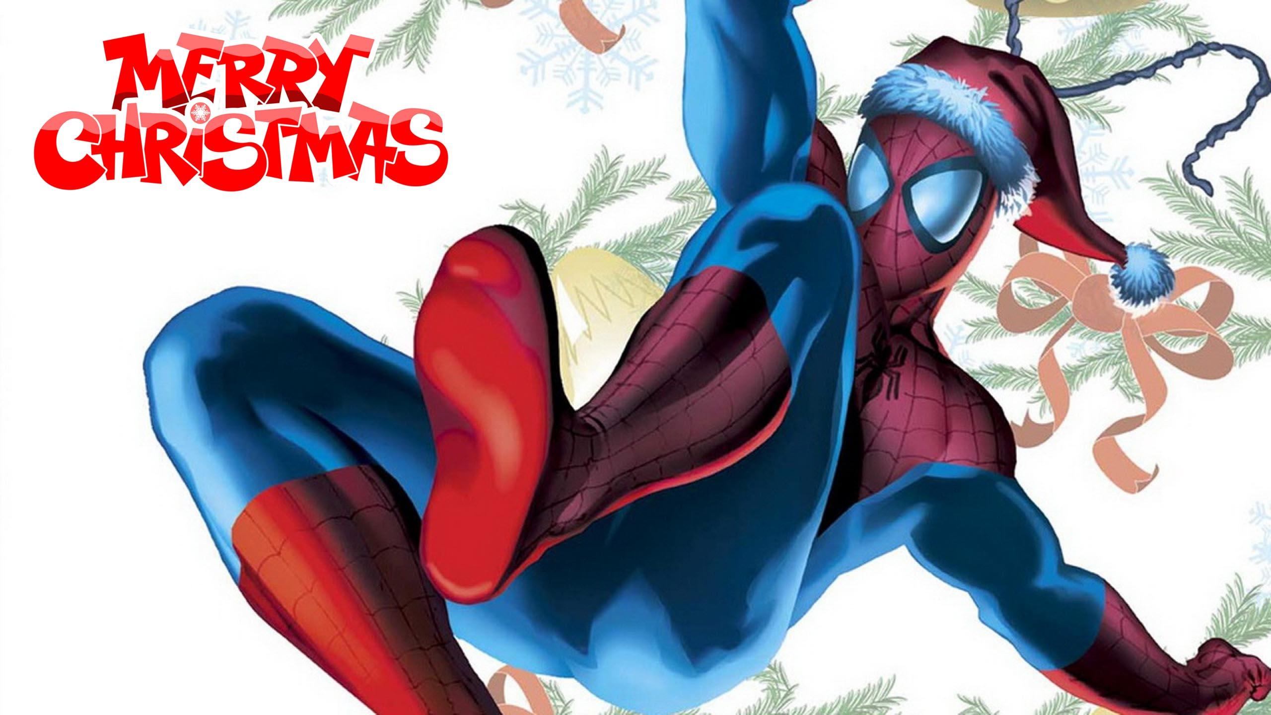 happy merry christmas wishes marvel spiderman super hero hd wallpaper