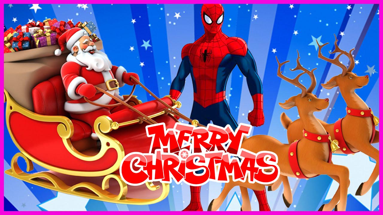 happy merry christmas wishes spiderman comic cartoon super hero hd wallpaper
