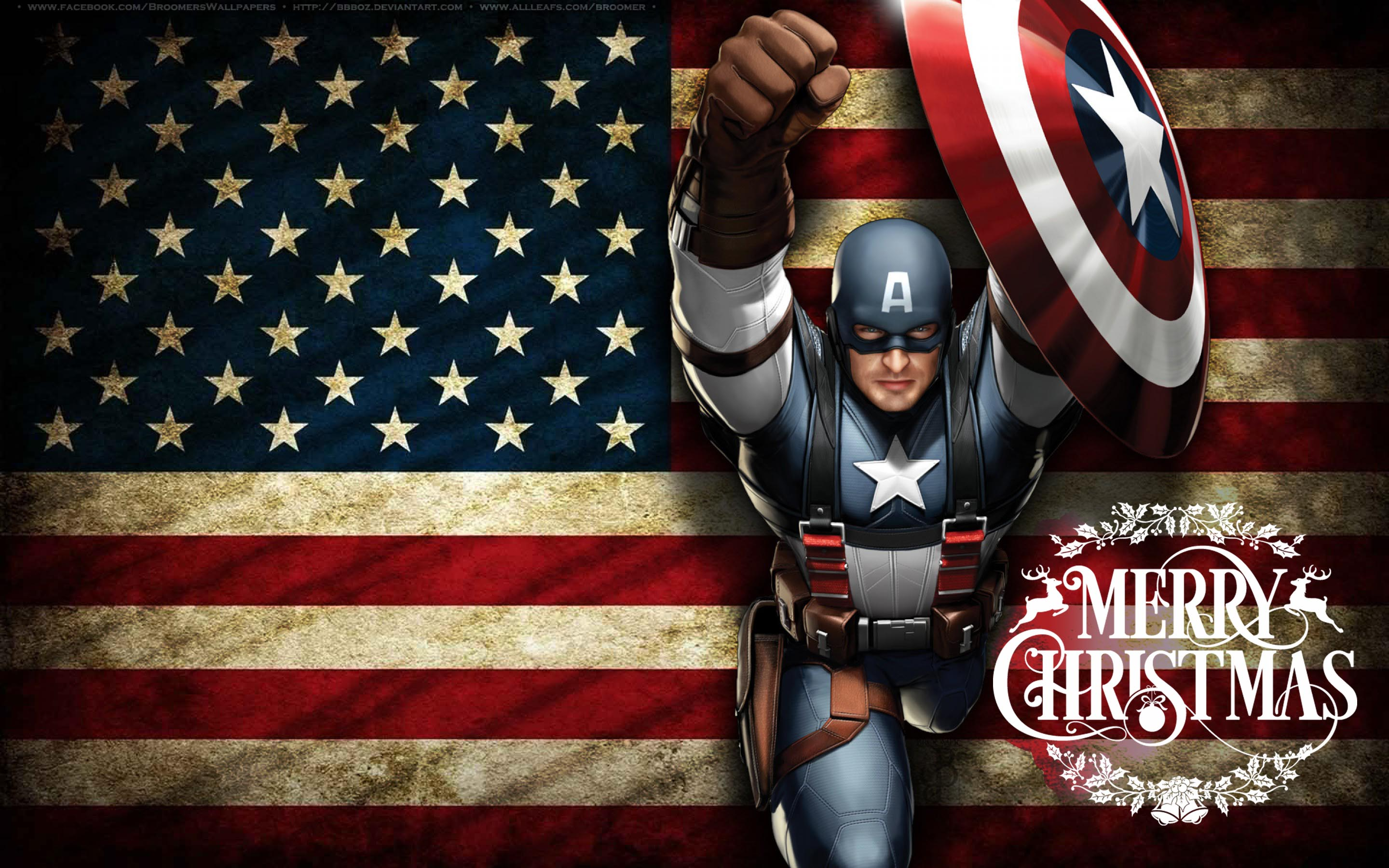 happy merry christmas wishes super hero captain america kids hd wallpaper