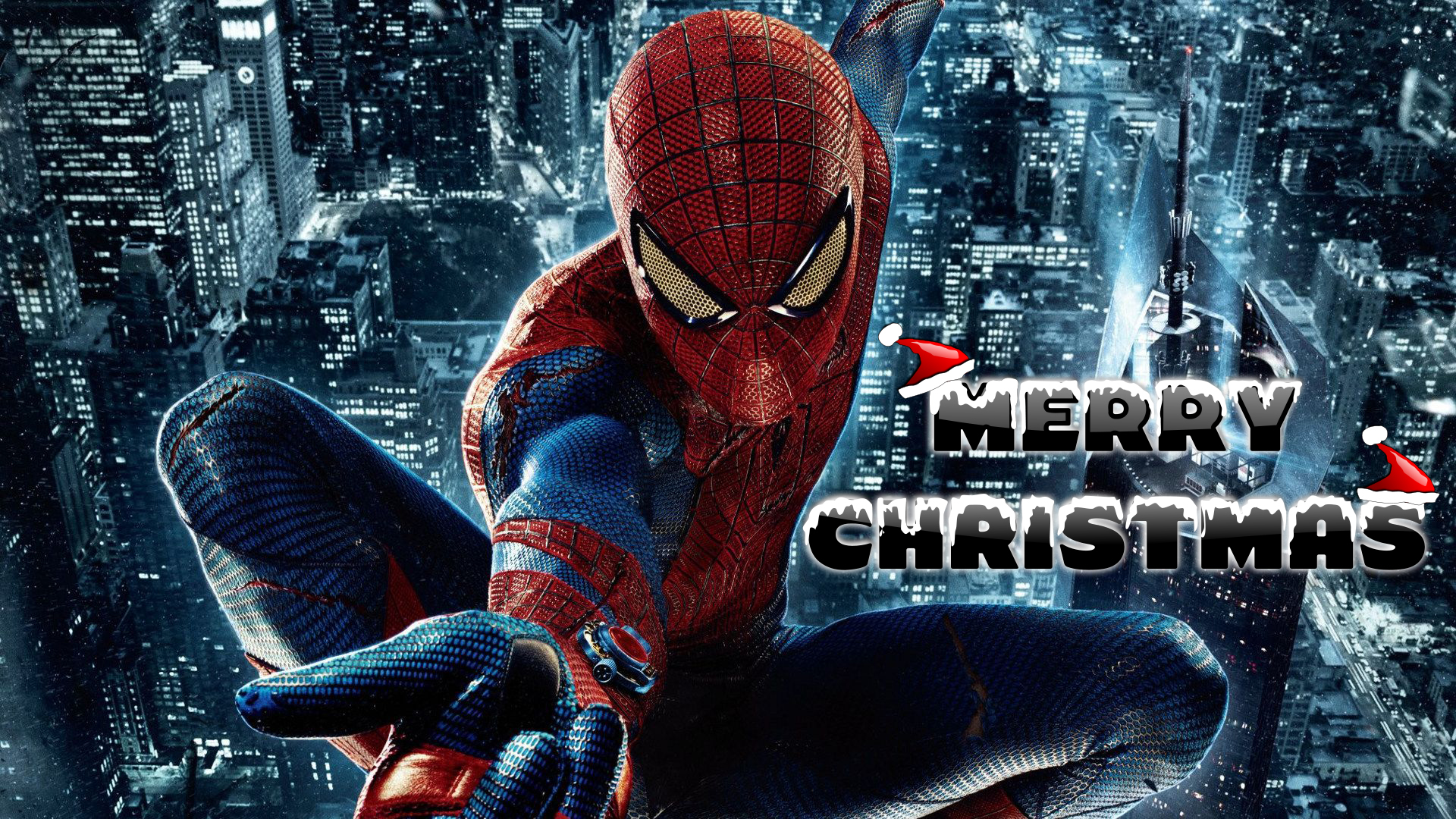 happy merry christmas wishes super hero spiderman kids hd wallpaper