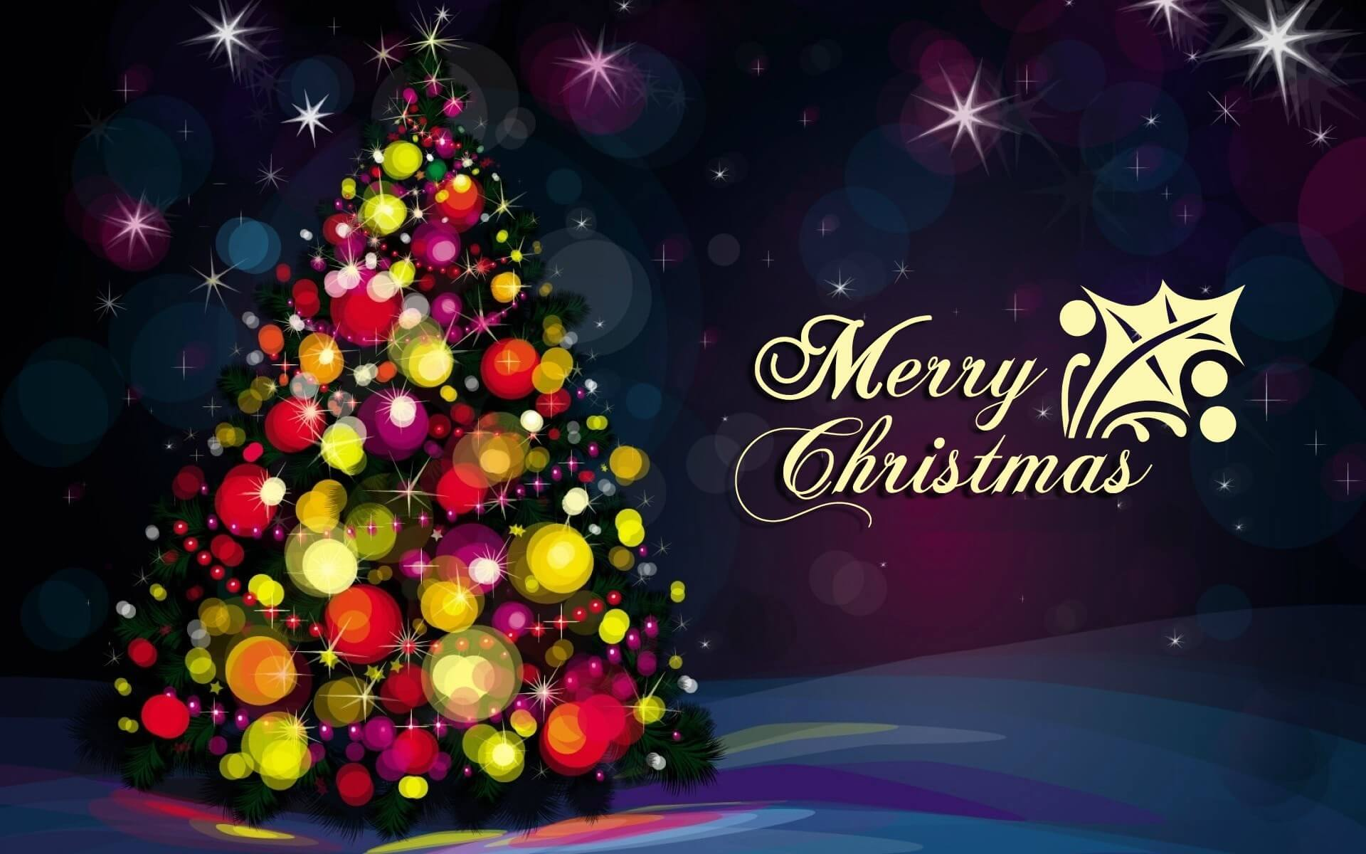 happy merry christmas wishes tree decorative celebration hd wallpaper