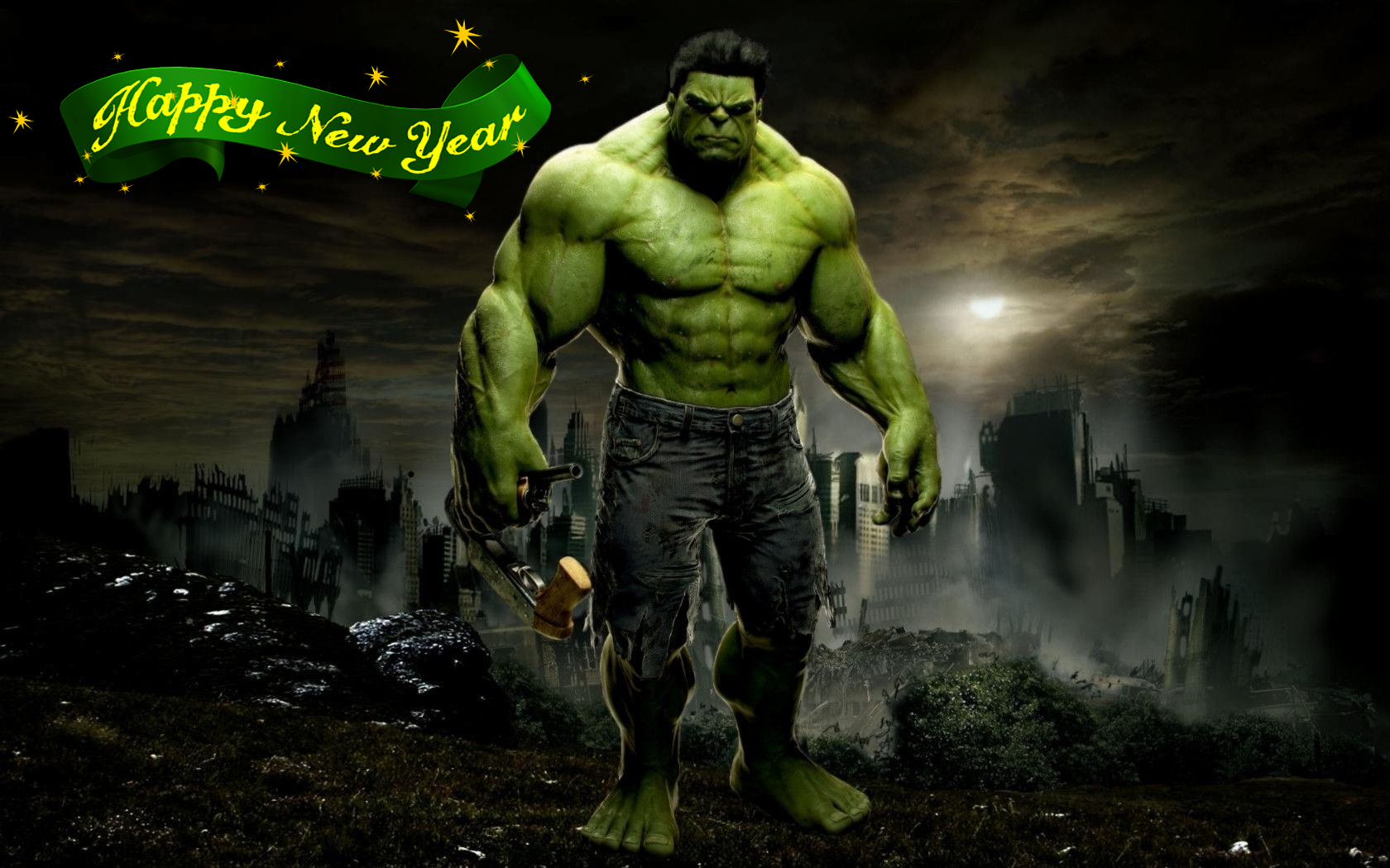 happy new year greetings super hero hulk kids hd wallpaper