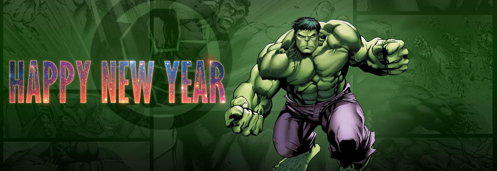 Happy New Year Greetings Wishes Super Hero Hulk Kids Hd Wallpaper