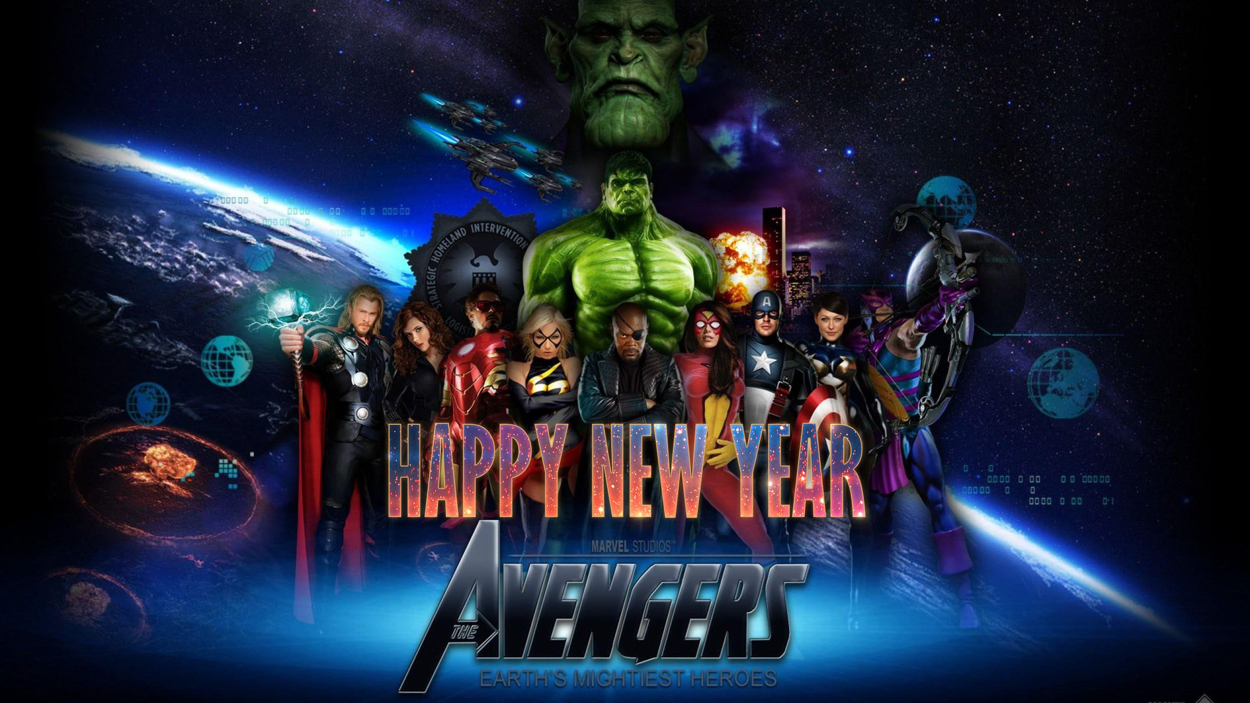 happy new year wishes marvel avengers team super heroes hd wallpaper