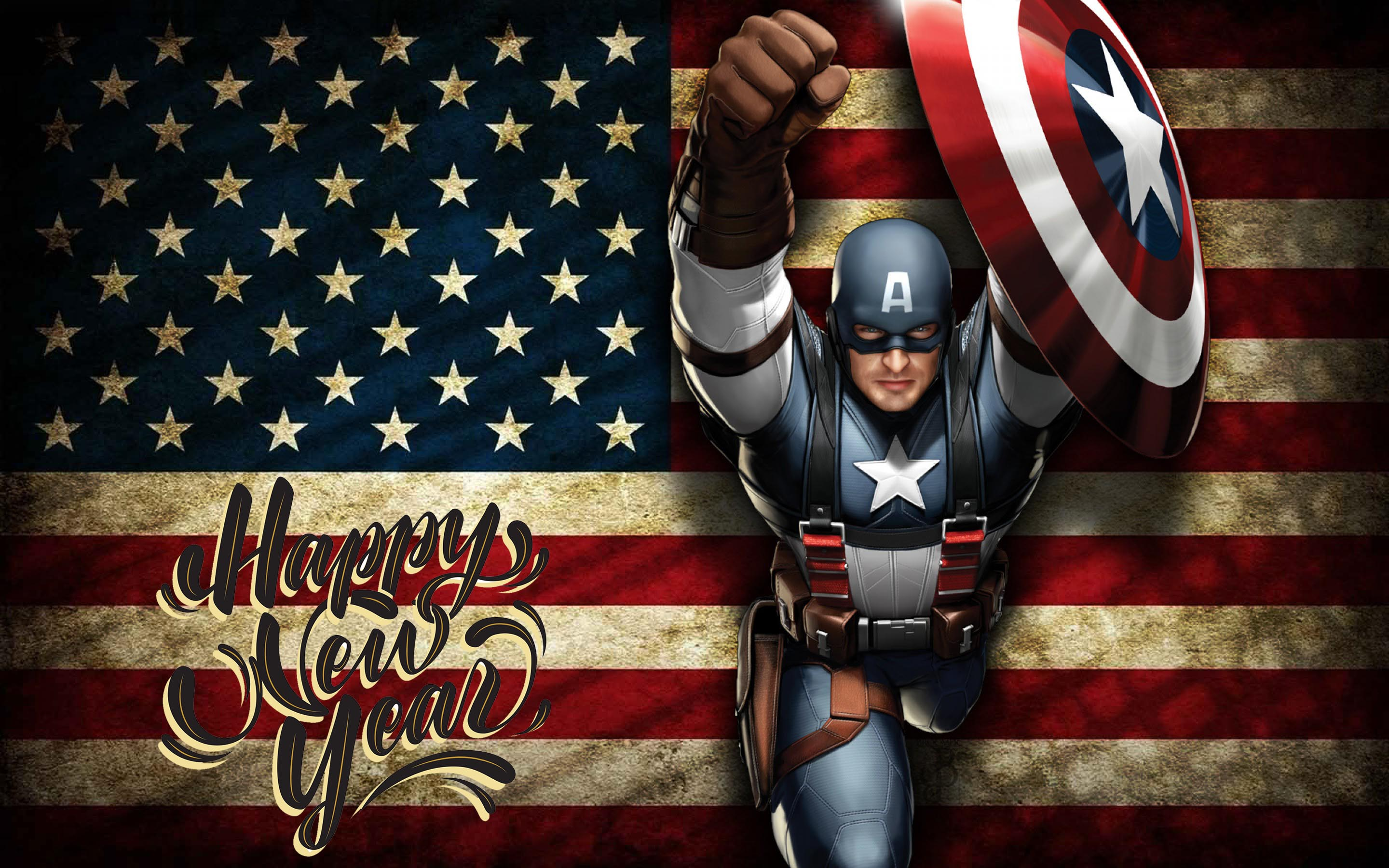 happy new year wishes super hero captain america kids hd wallpaper