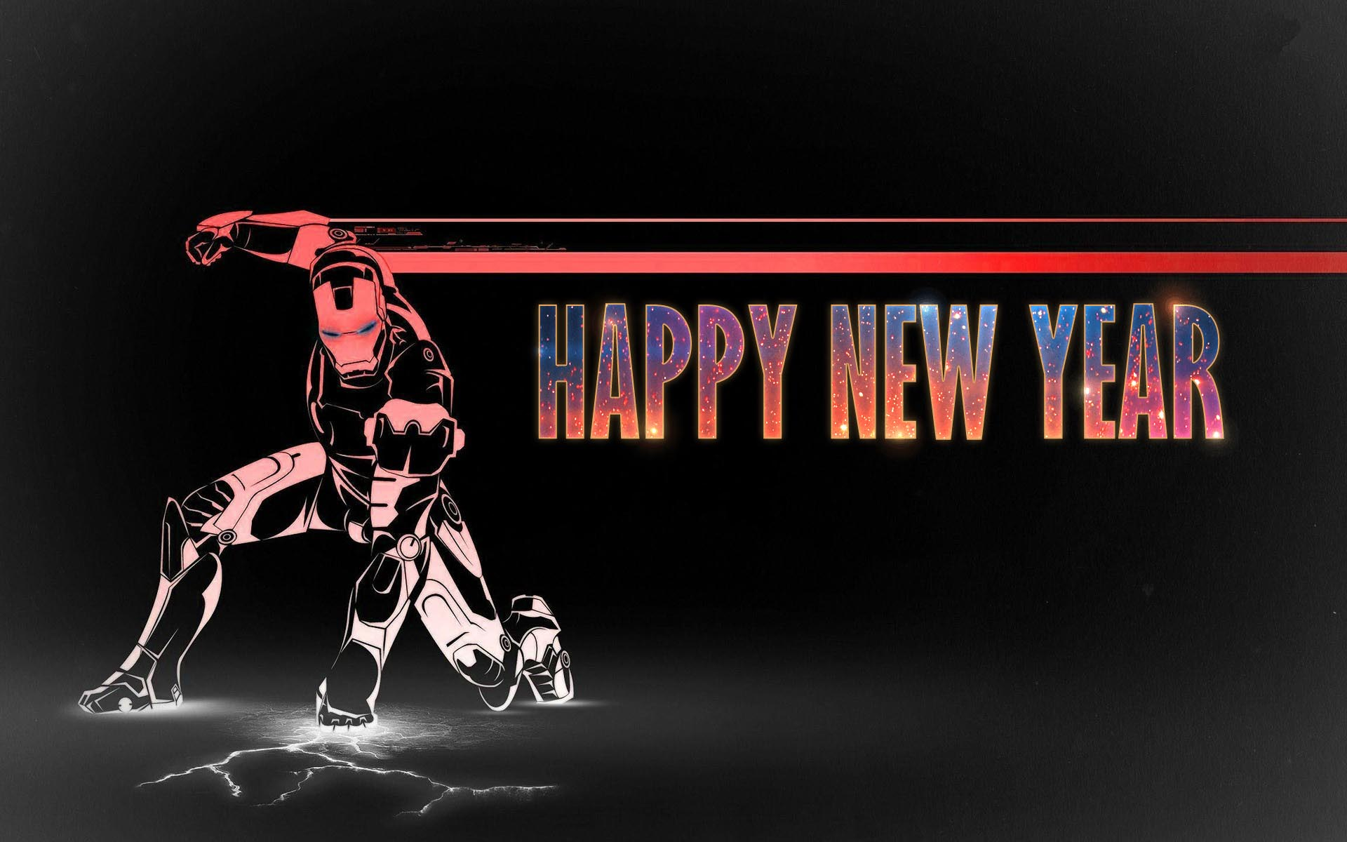 happy new year wishes super hero ironman kids art hd wallpaper