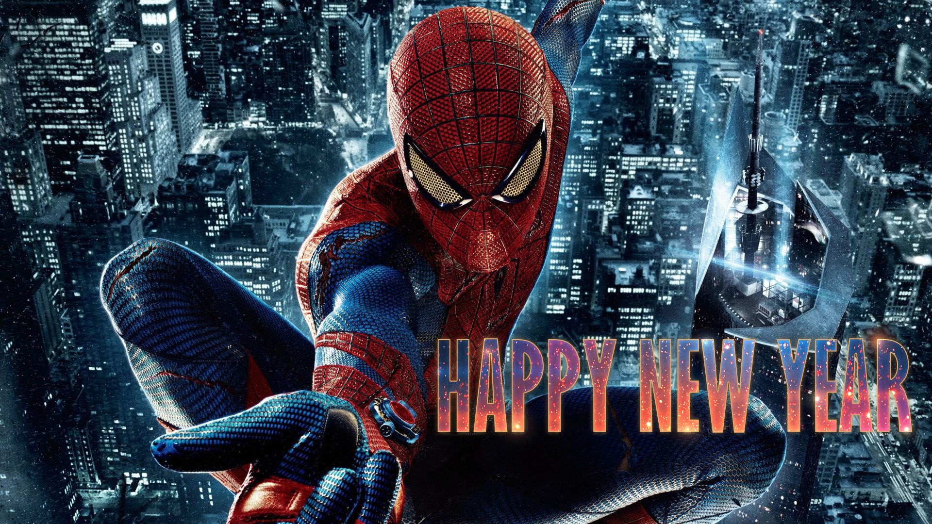 happy new year wishes super hero spiderman kids hd wallpaper