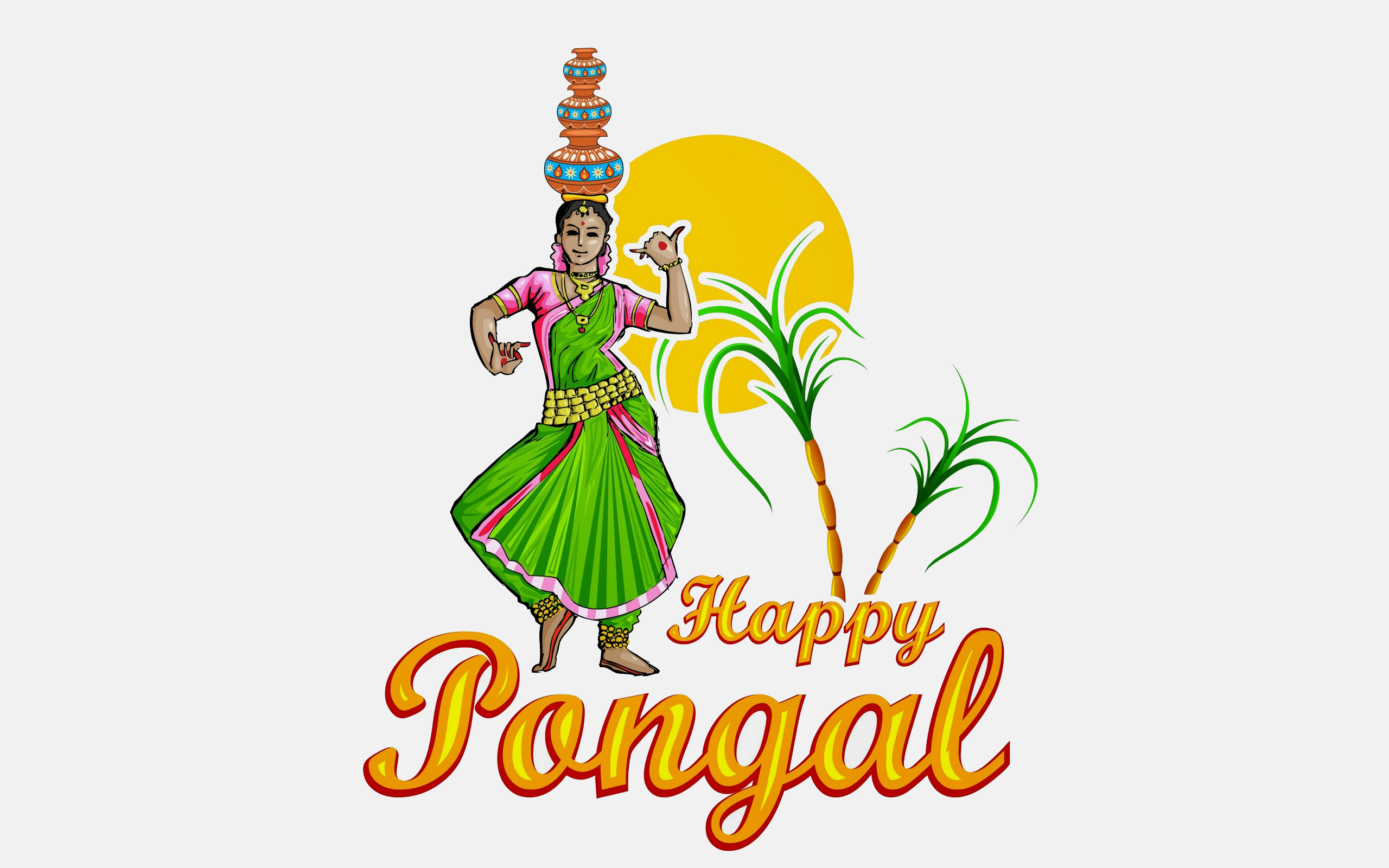 happy pongal festival wishes dancing woman hd pc wallpaper