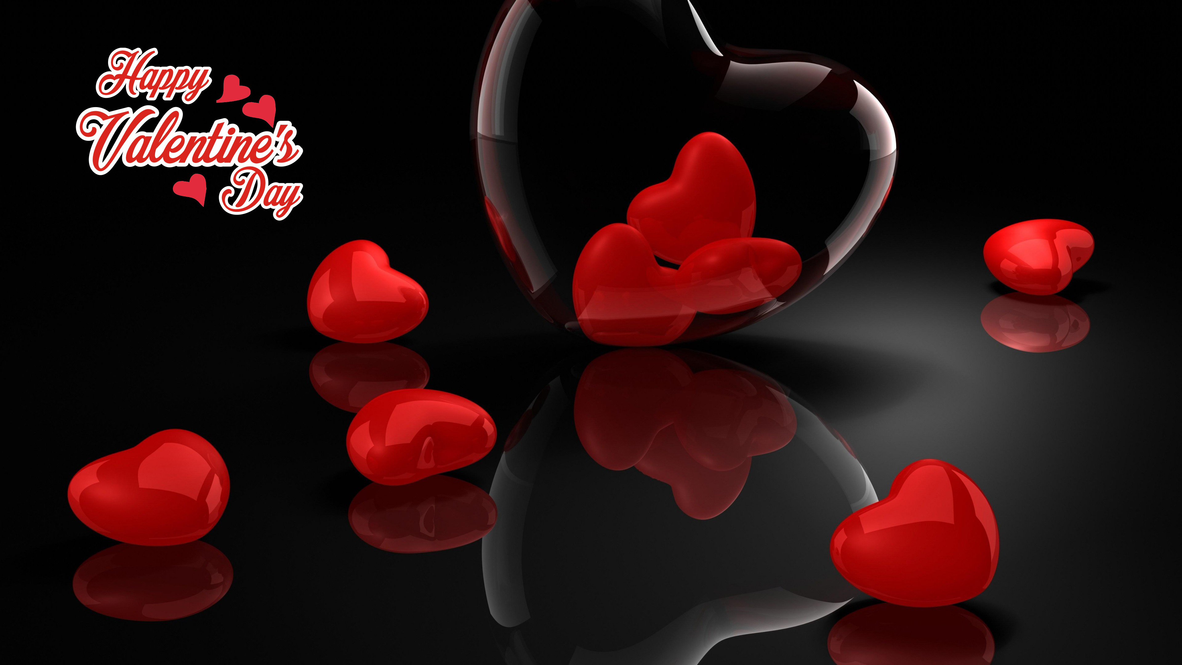happy valentines day heart glass 3d reflection large background hd wallpaper