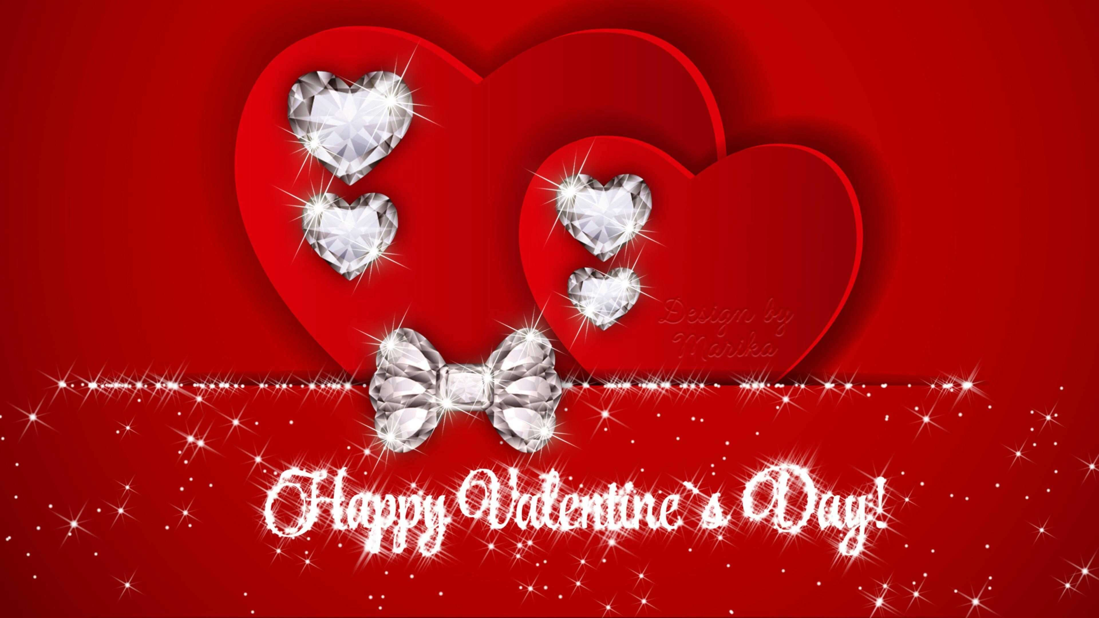 happy valentines day heart stones jewels picture image hd wallpaper