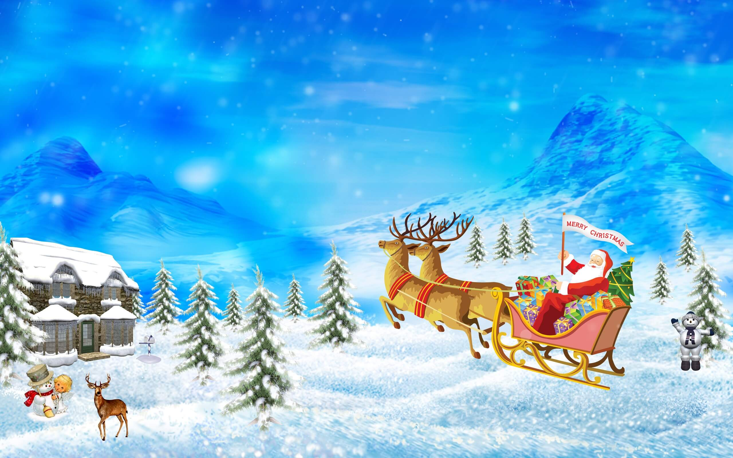 merry happy christmas santa claus rein deer snow man art hd wallpaper