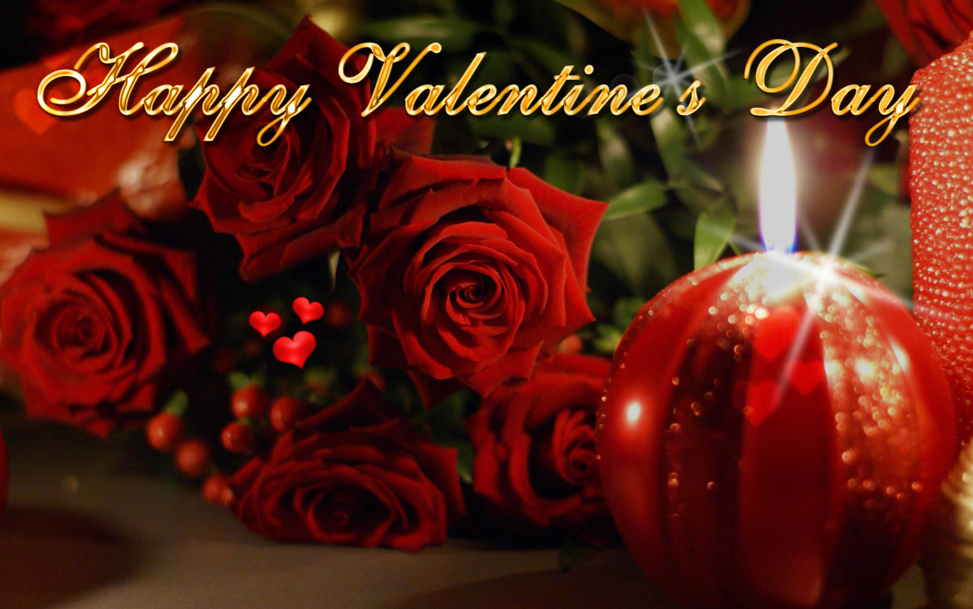 happy valentines day ecard wallpaper candle roses hd