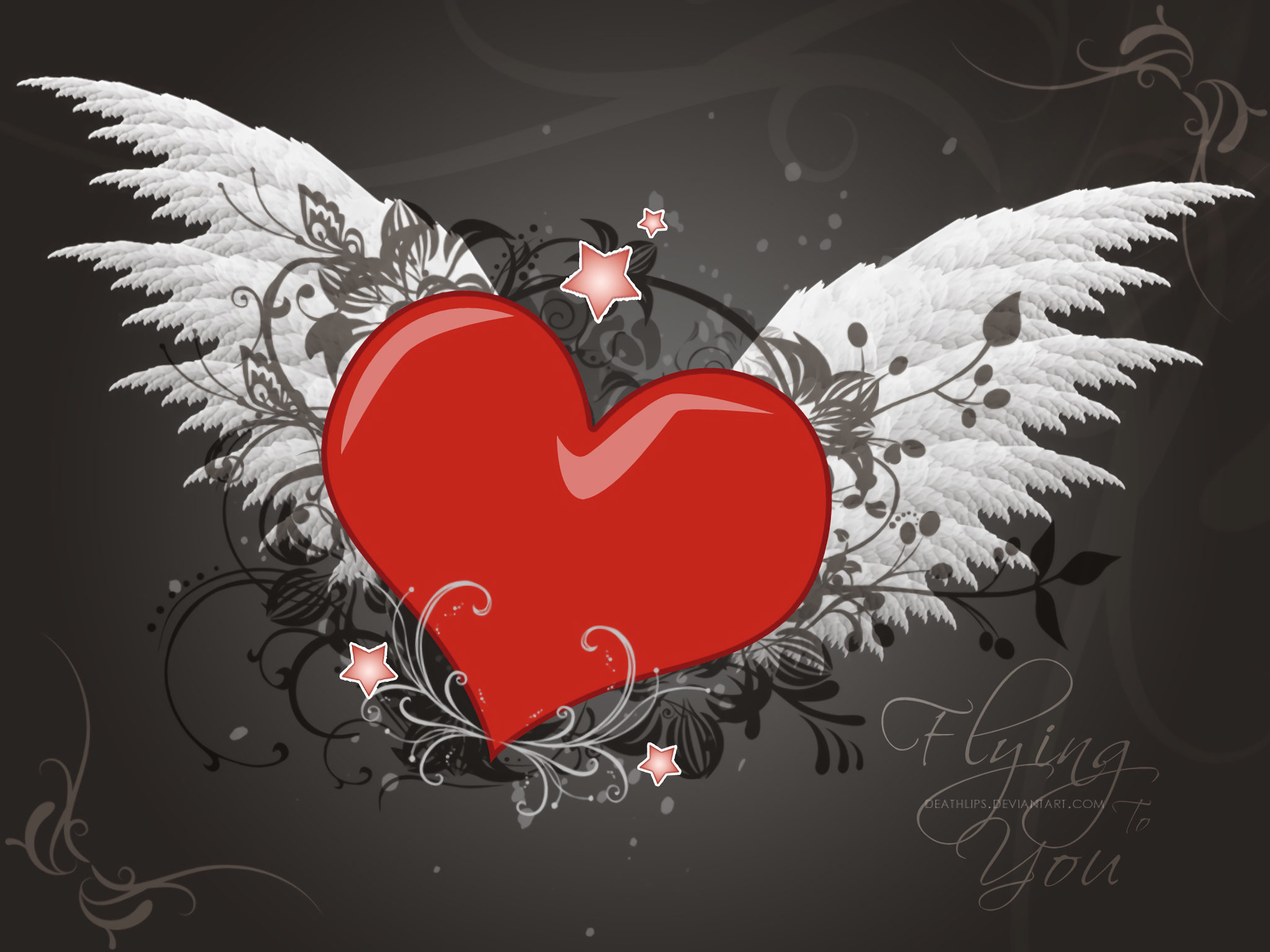 happy valentines day love 3d flying heart hd wallpaper