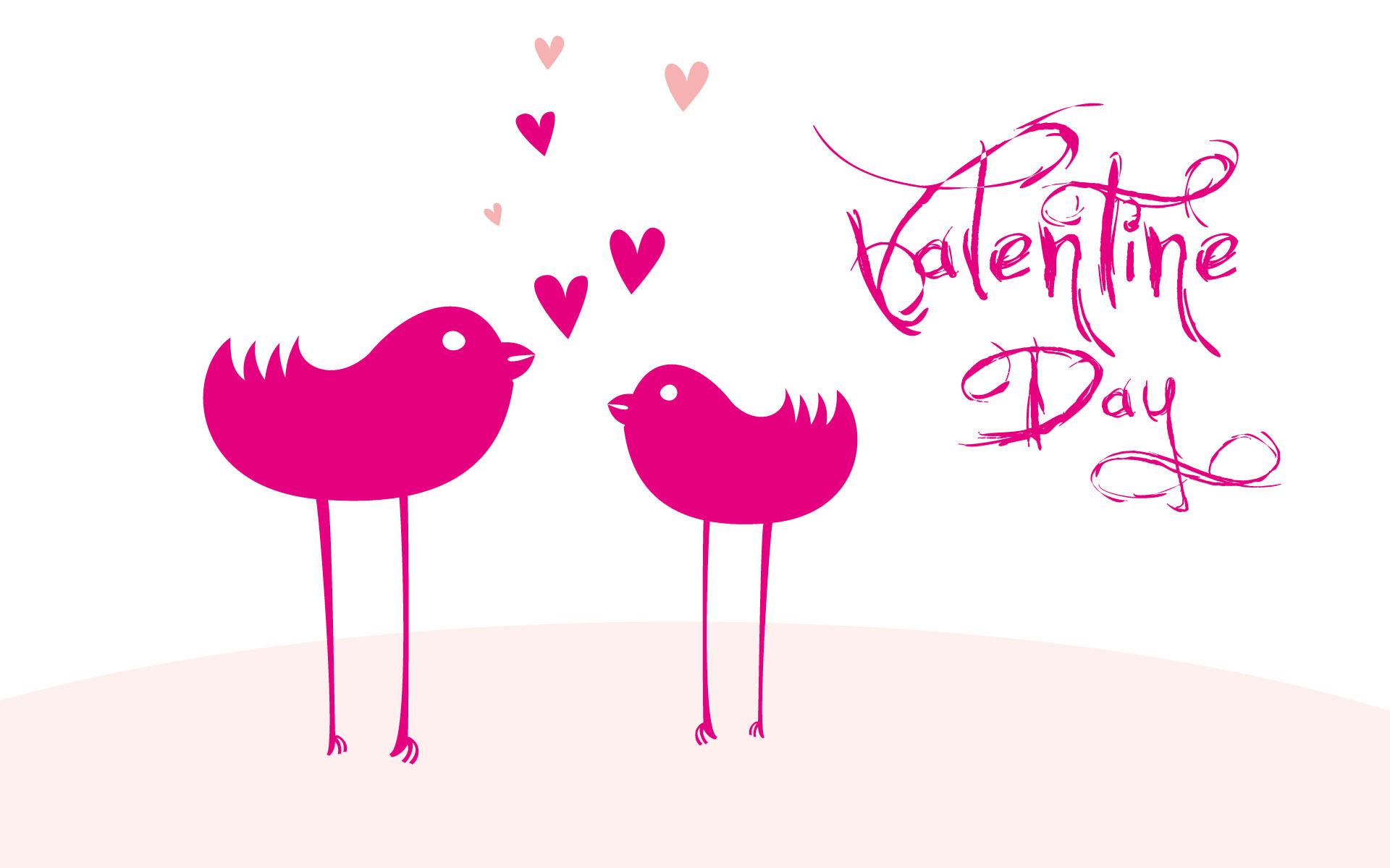pink birds cartoon happy valentine day hd free wallpaper