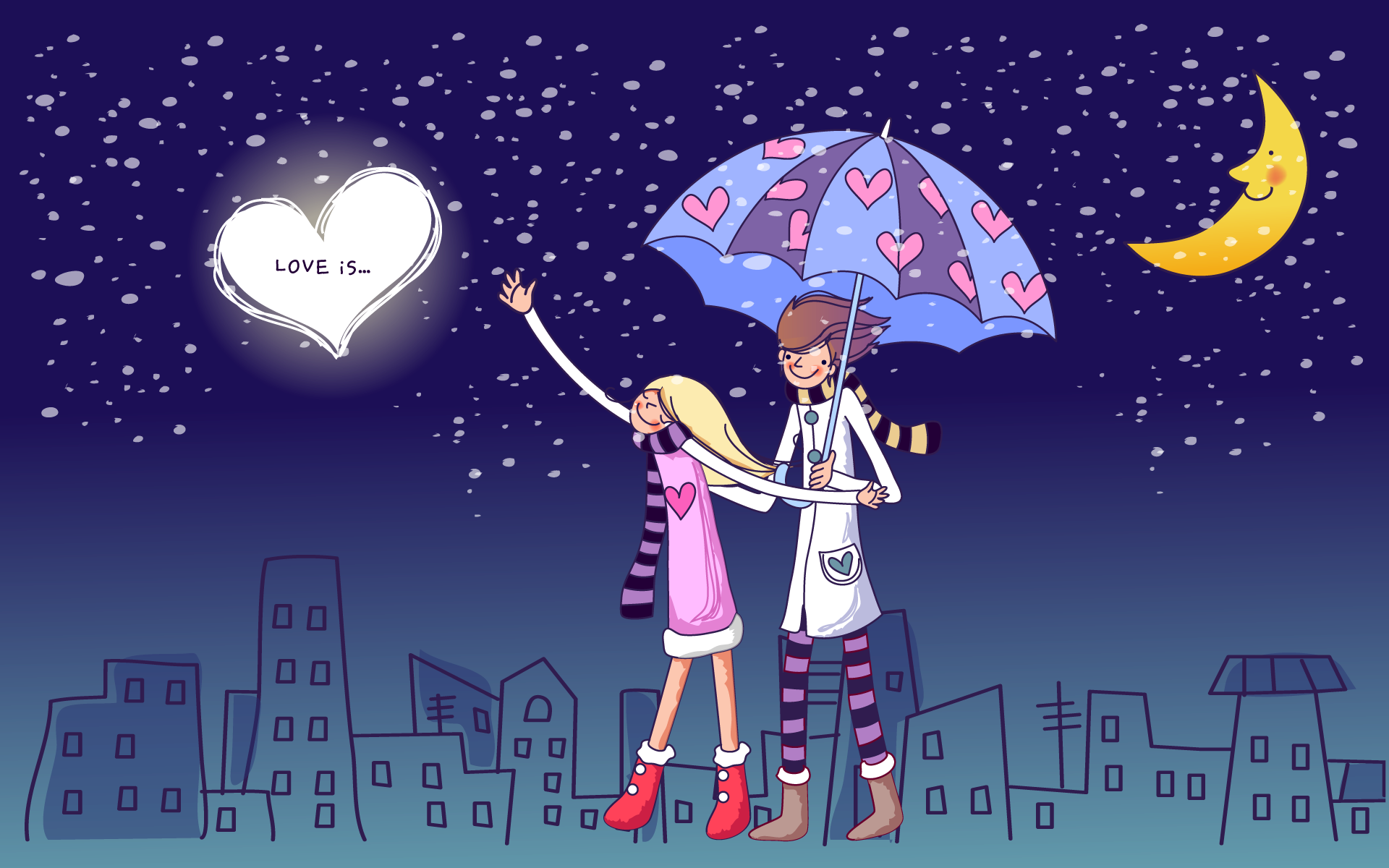 valentines day lovers cartoon animated free hd wallpaper