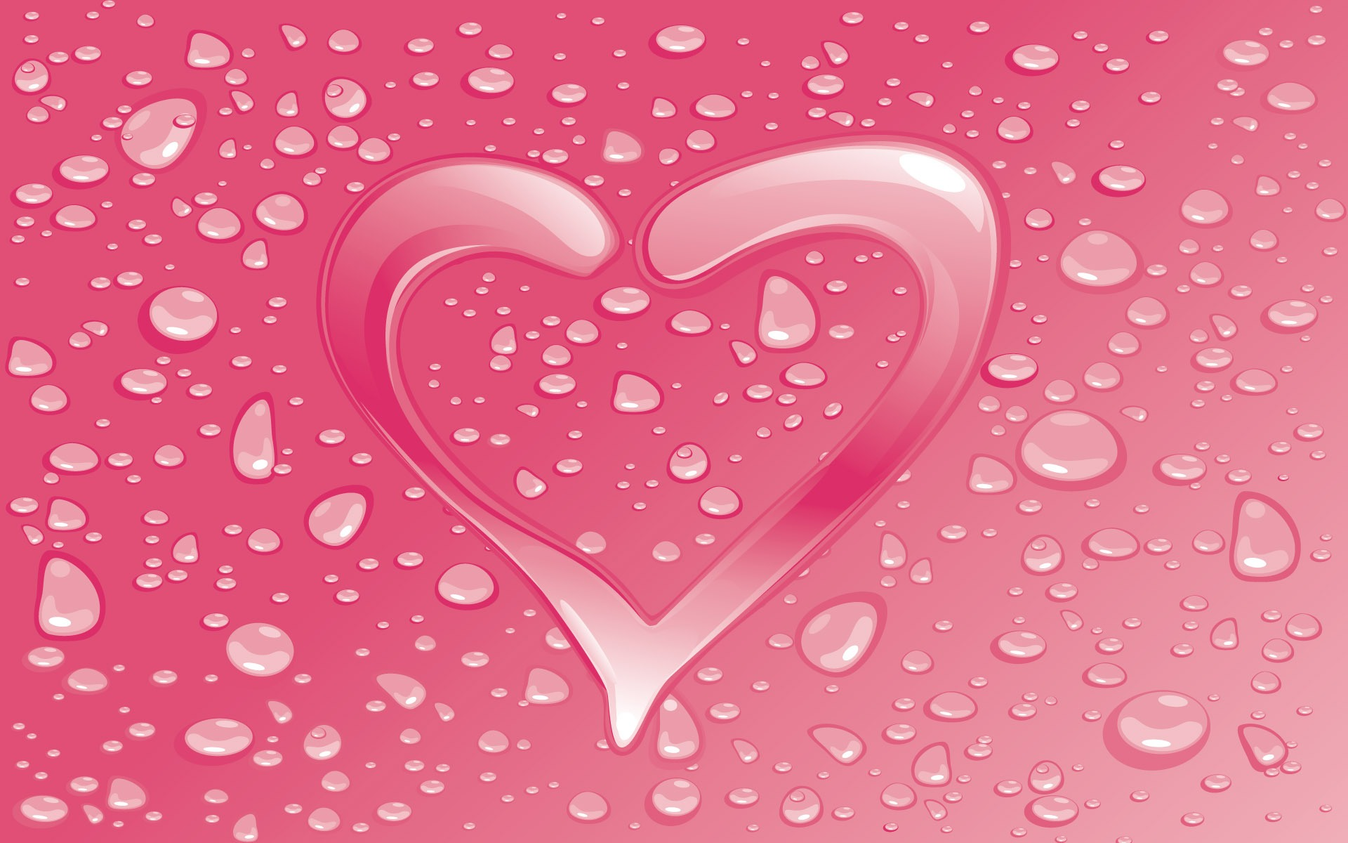 valentines day wallpaper heart water droplets free hd desktop