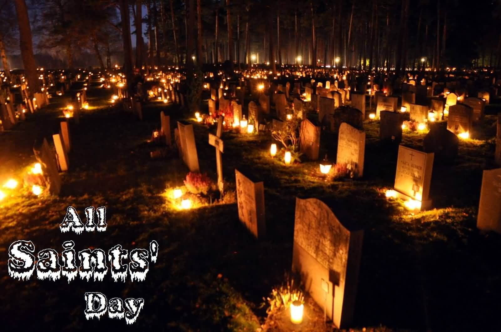 all saints day lighting lamps at graveyard wallpaper