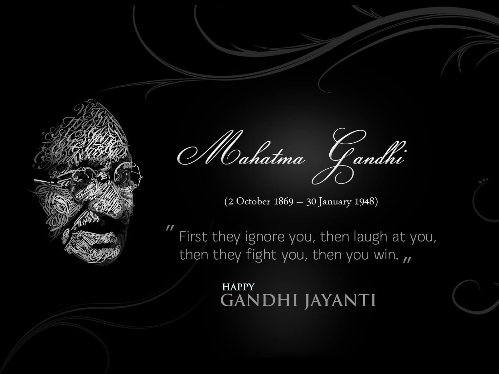 gandhi jayanti october 2 hd success quotes wallpaper