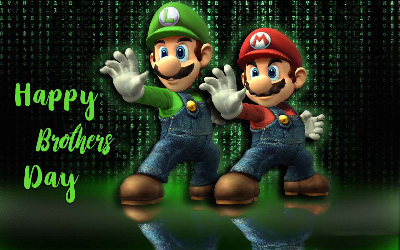 happy brothers day mario luigi matrix 3d hd wallpaper