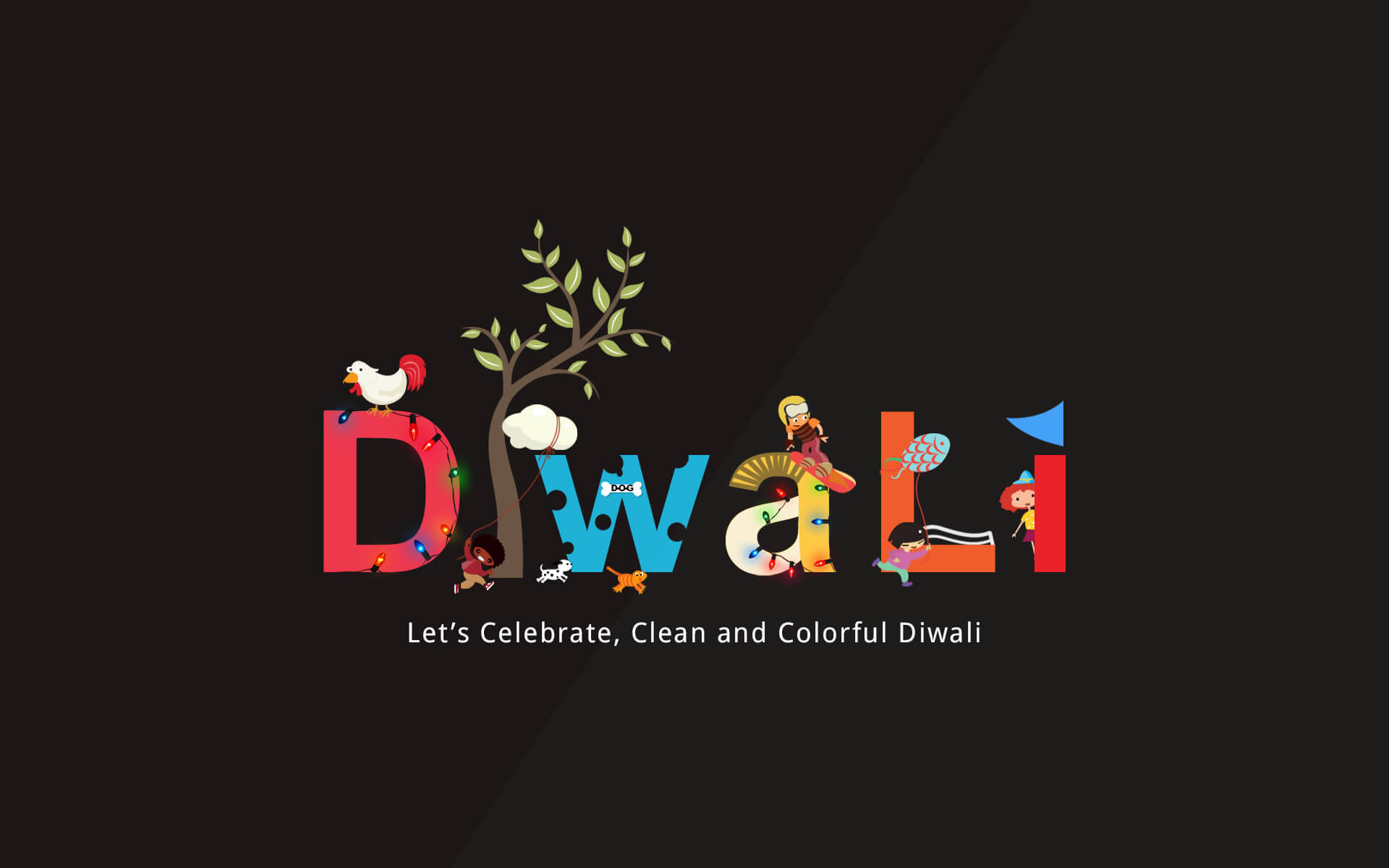 happy celebrate colorful diwali wishes hd image