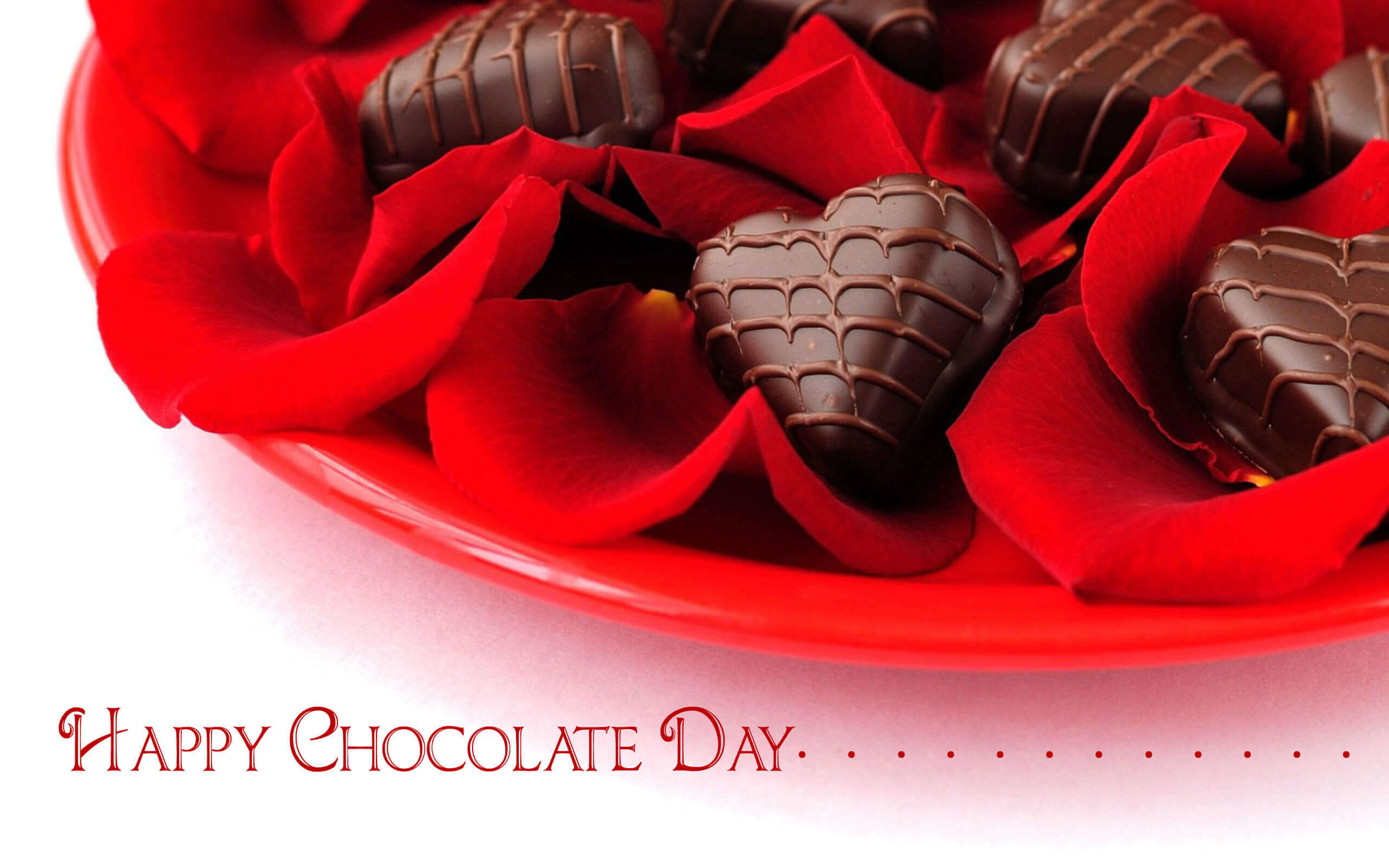 happy chocolate day heart on rose petals love graphic image hd wallpaper
