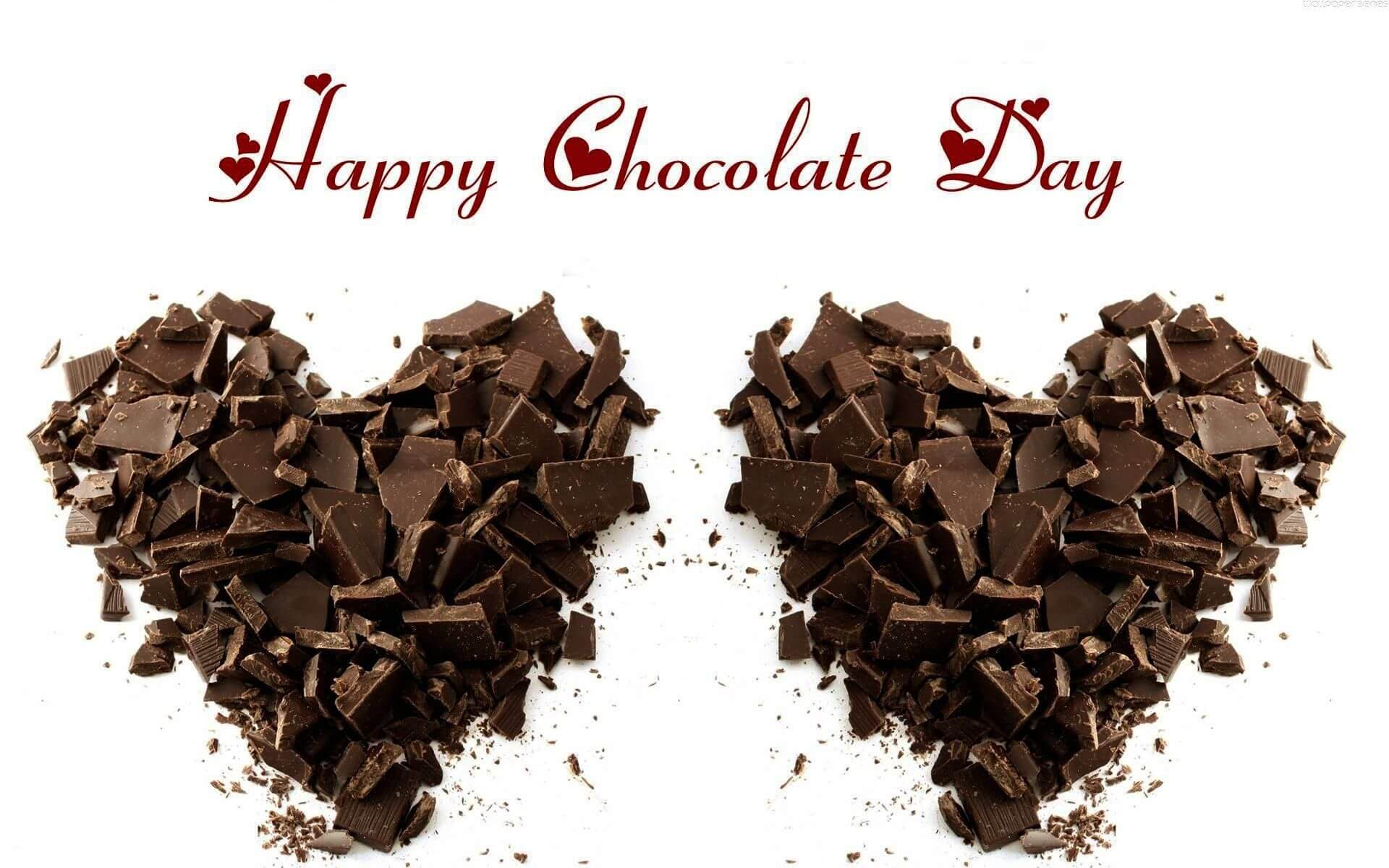 happy chocolate day pieces love heart graphic desktop facebook whatsapp hd wallpaper