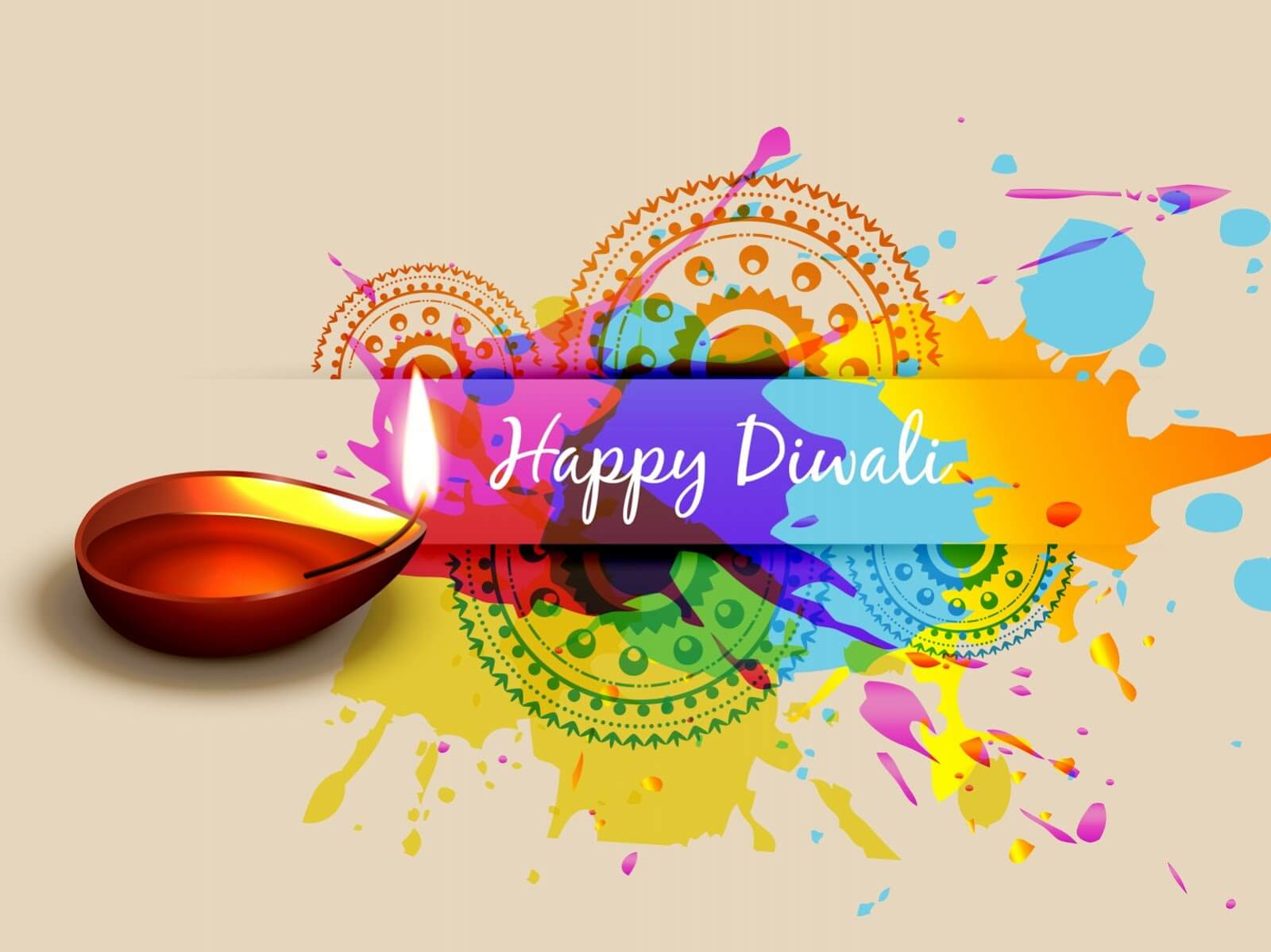 happy diwali colorful greetings hd wallpaper