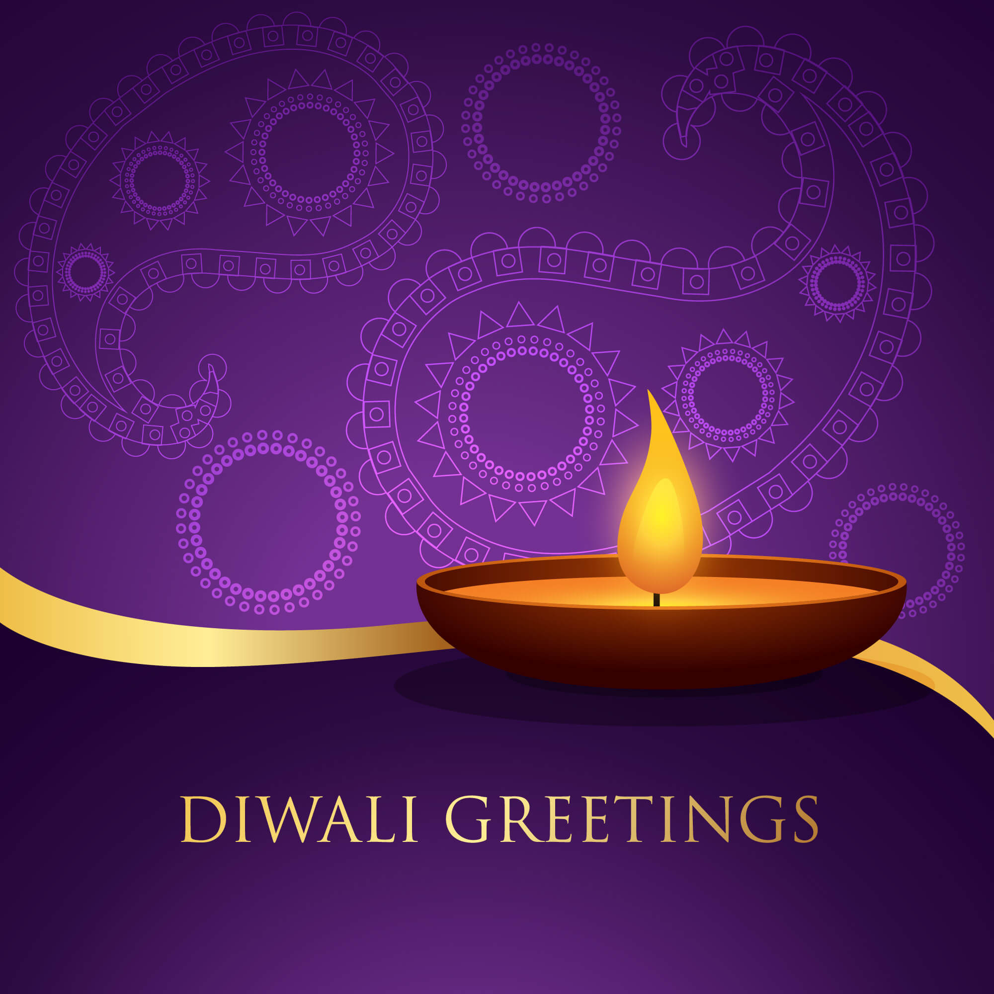 Happy Diwali Greetings Lamp Hd Wallpaper