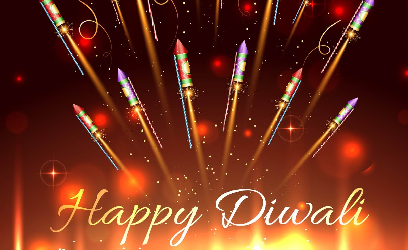 happy diwali sparkling rockets hd wallpaper