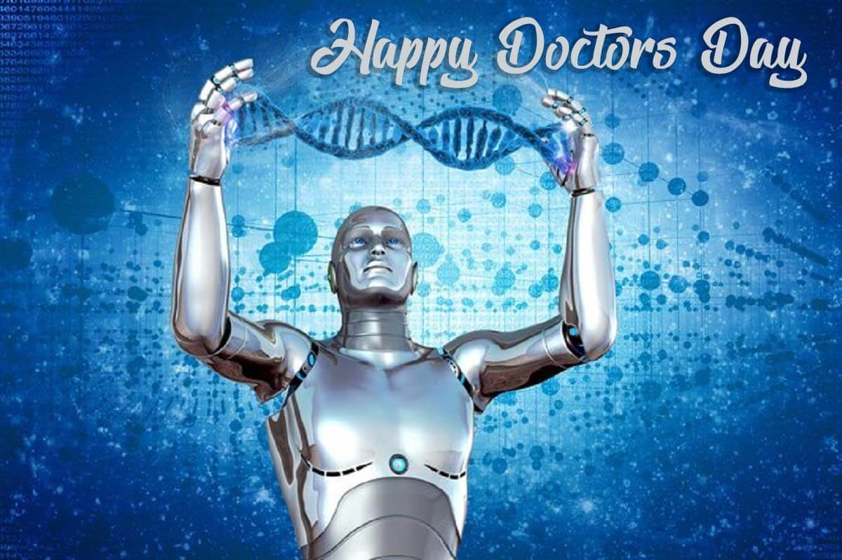 happy doctors day artificial intelligence robot technology healthcare dna hd wallpaper