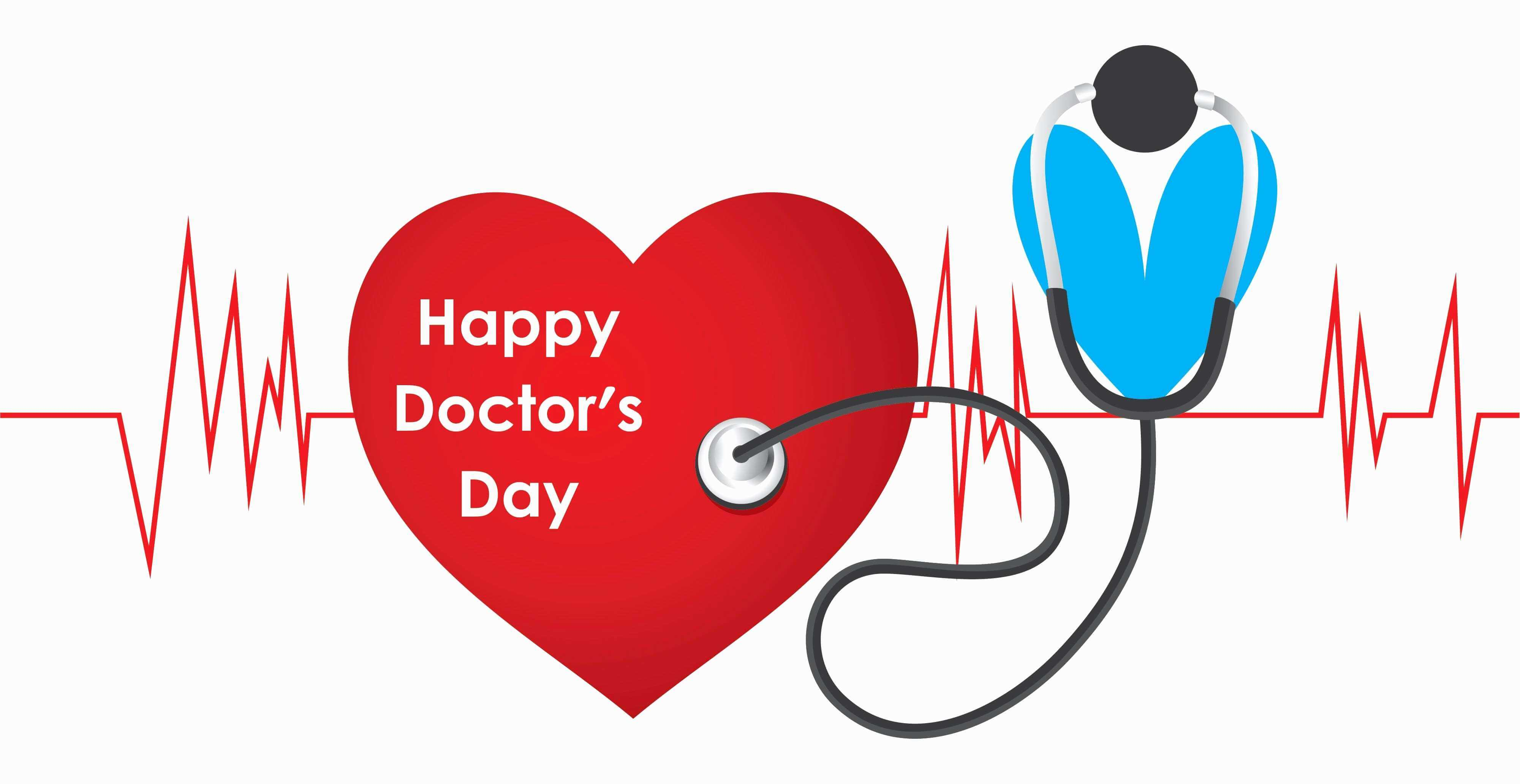 happy doctors day wishes heart ecg stethoscope hd wallpaper