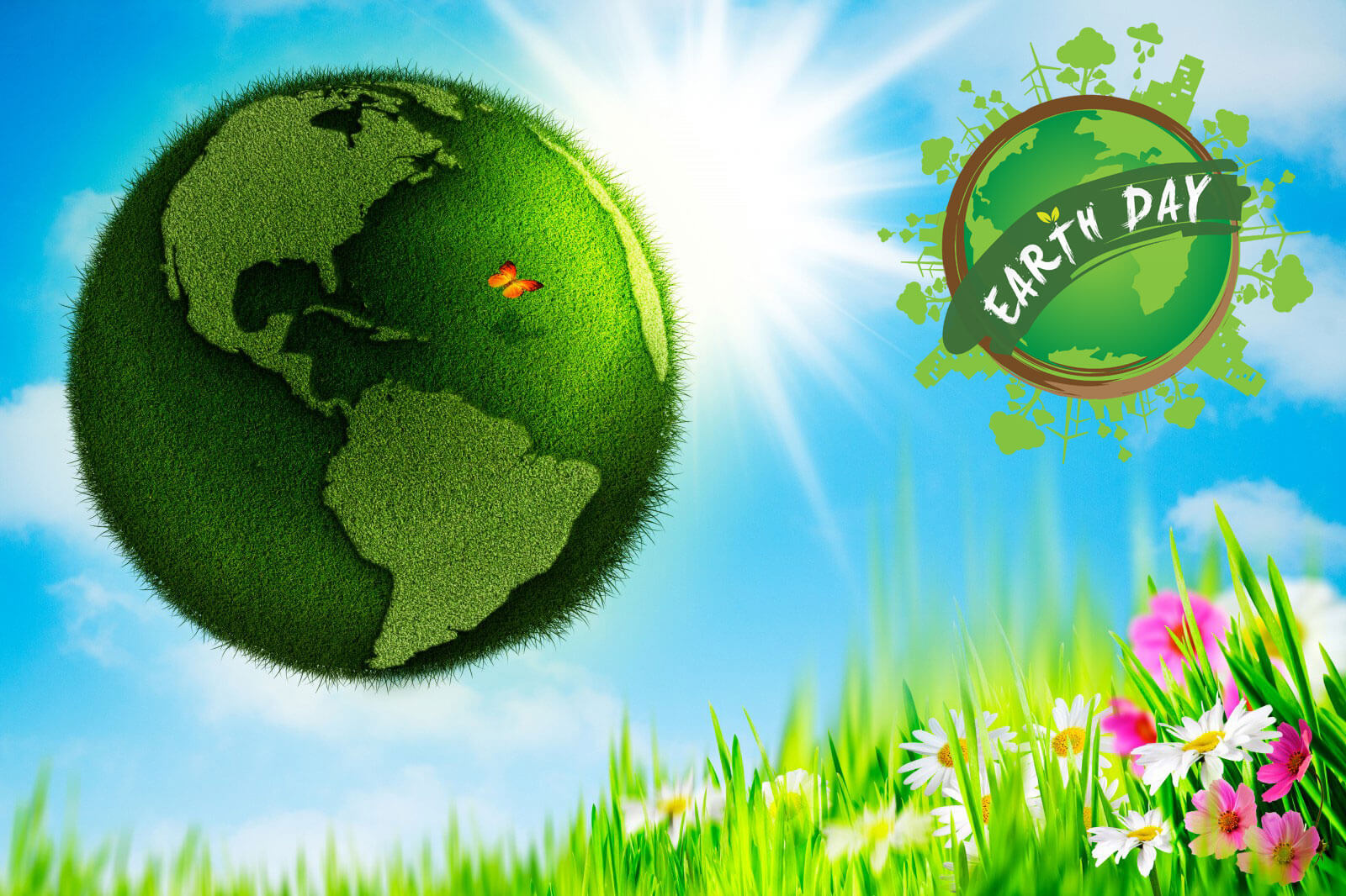 happy earth day 3d nature green colorful hd wallpaper