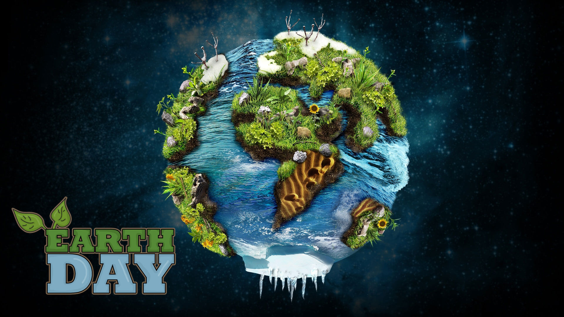 happy earth day cool green nature 3d hd wallpaper