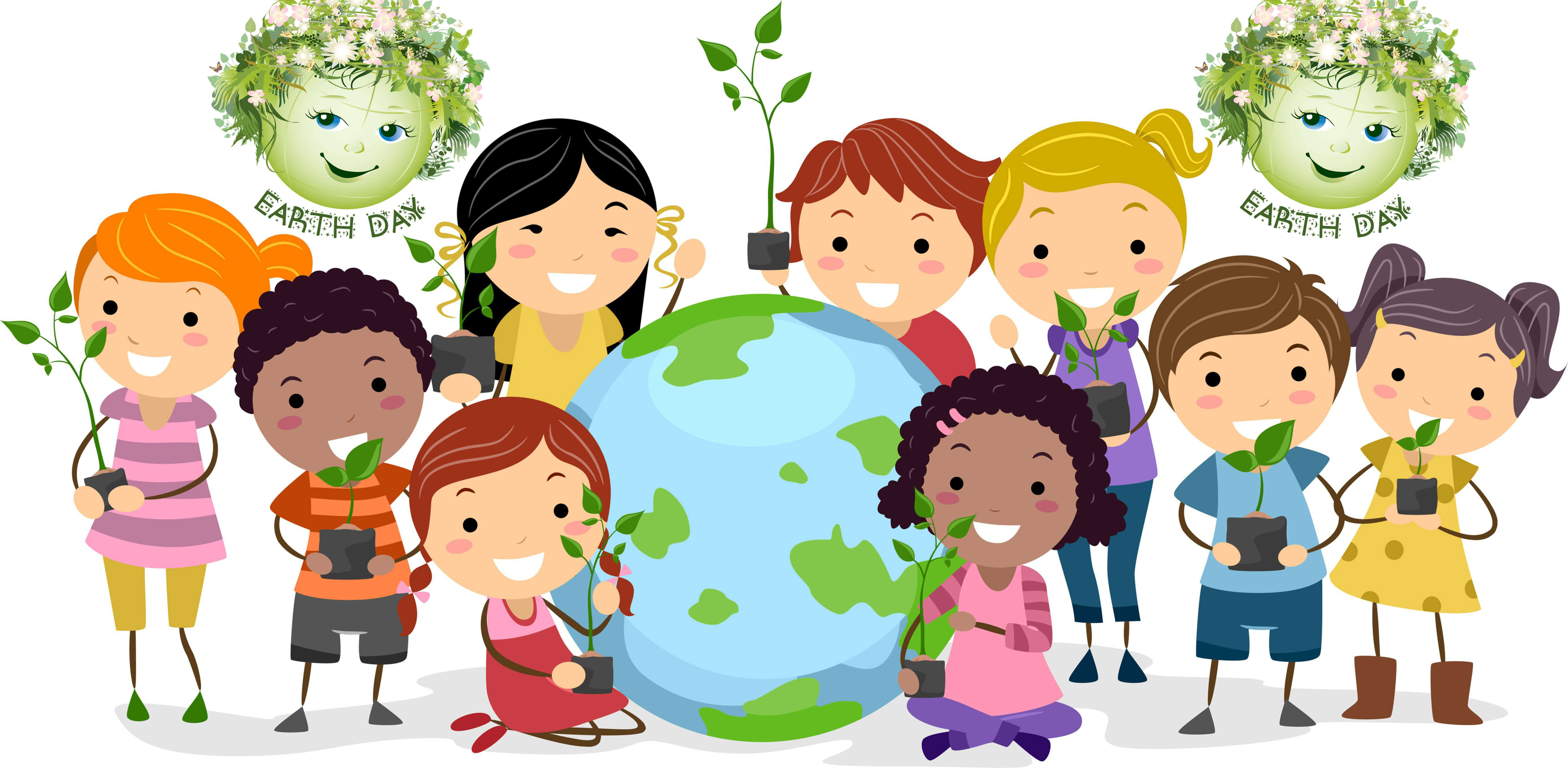 happy earth day cover photo kids with plants