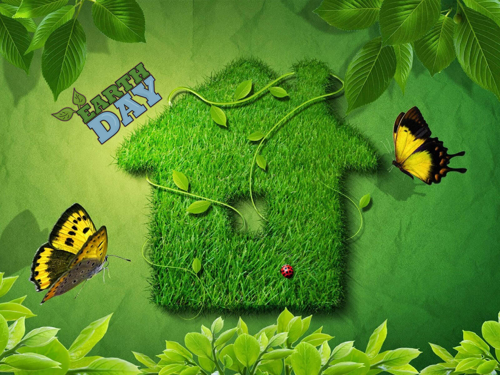 happy earth day green home hd wallpaper