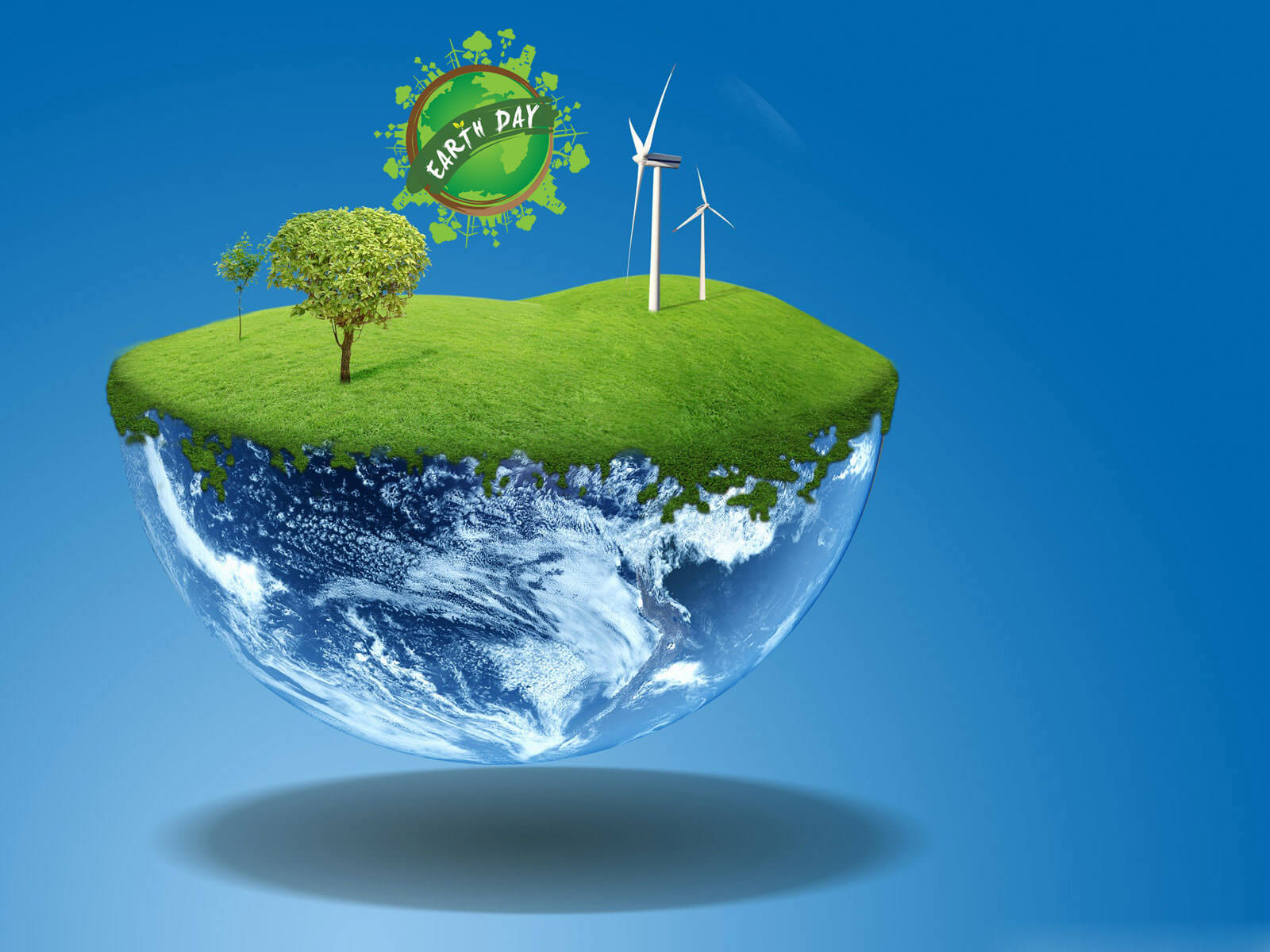 happy earth day wind mill go green hd wallpaper