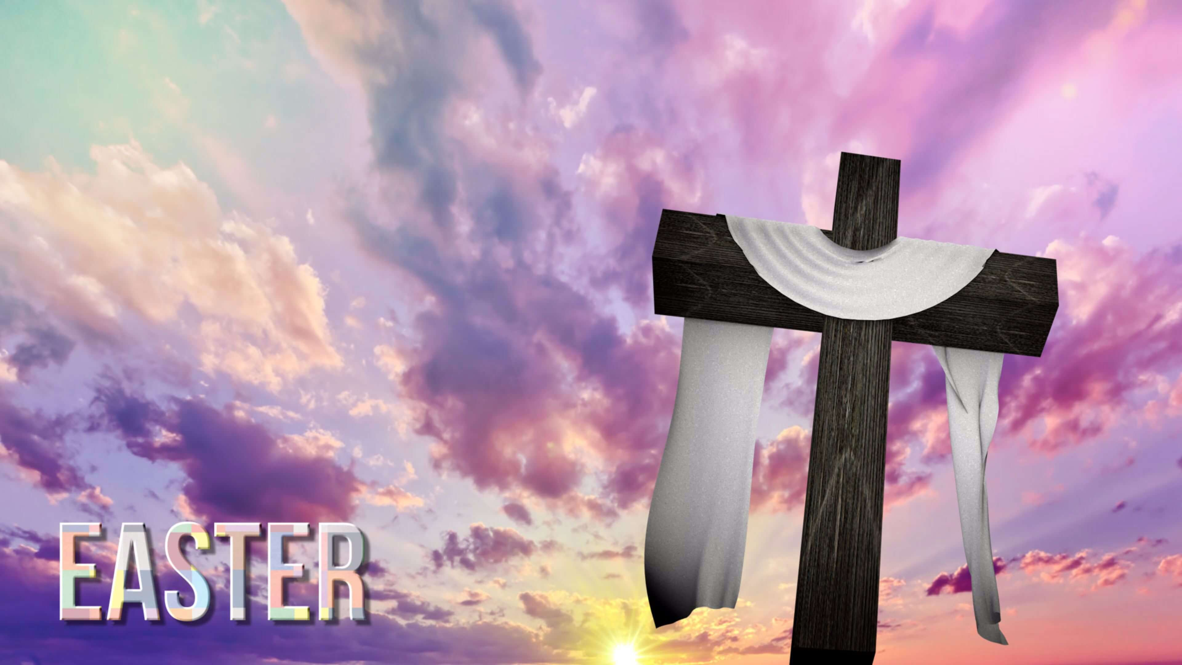 happy easter cross jesus 4k hd wallpaper