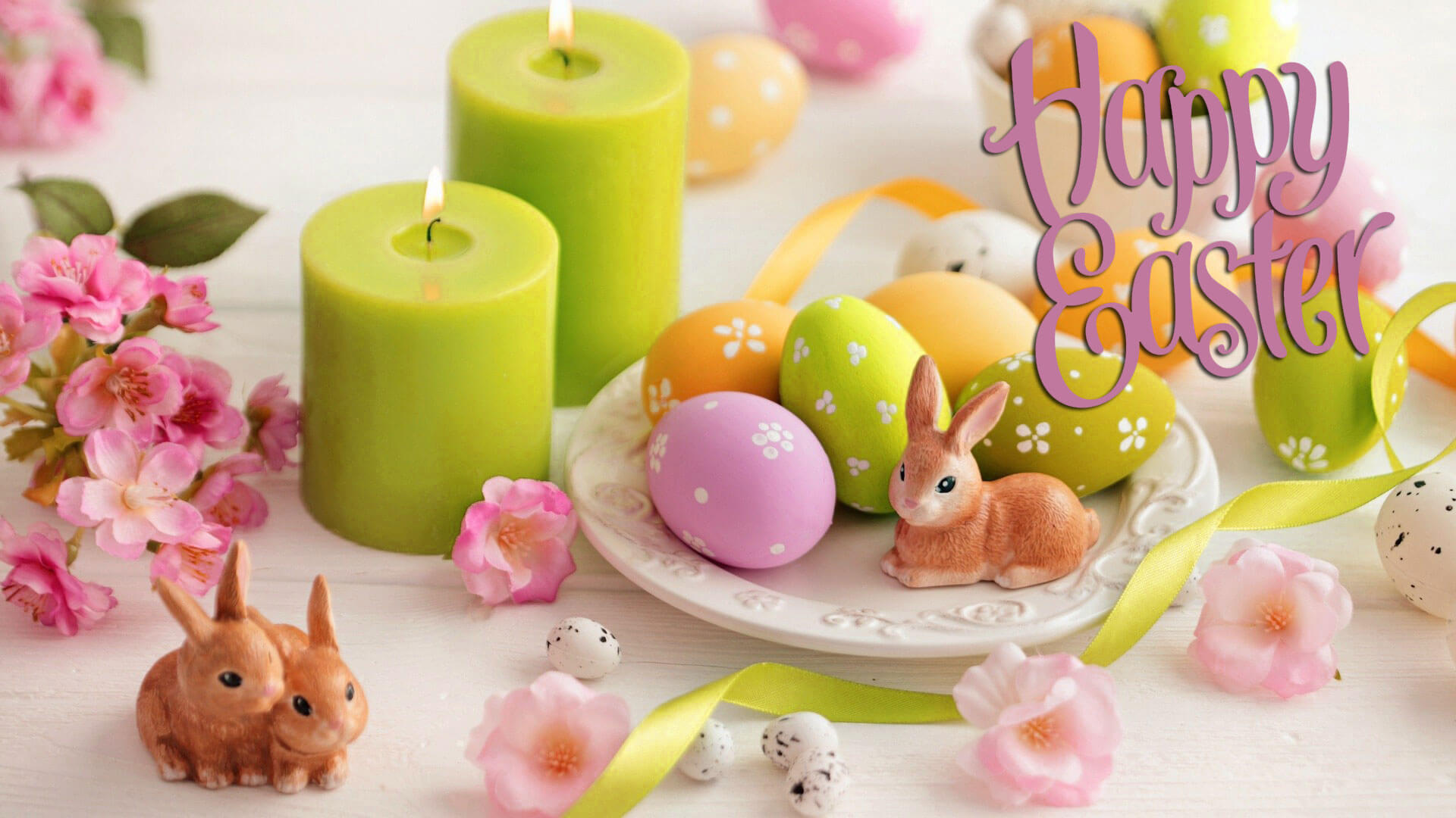 happy easter eggs bunny candle dinner cute hd wallpaper