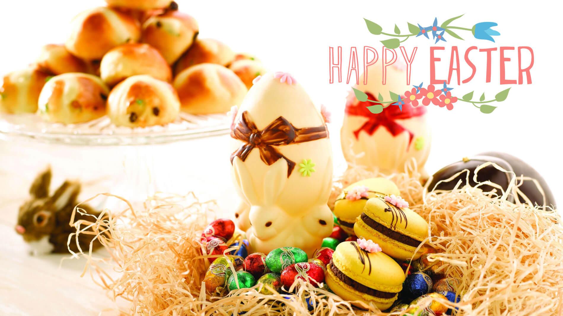 happy easter eggs bunny donut chocolates hd wallpaper