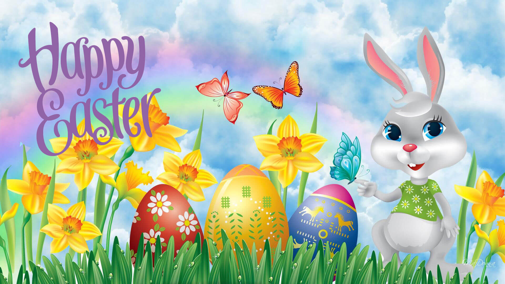 happy easter eggs butterflies bunny rabbit cartoon hd wallpaper