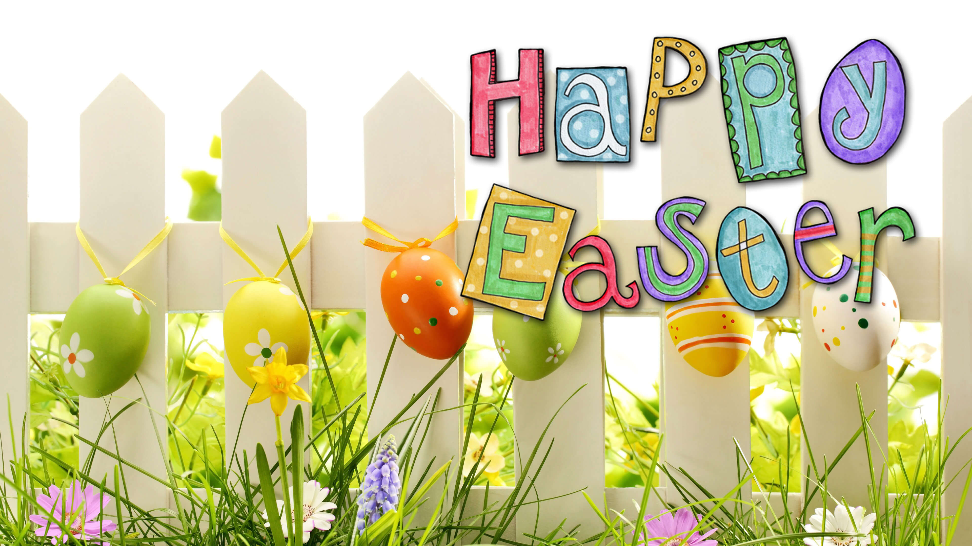 happy easter eggs grass flowers fence spring hd wallpaper