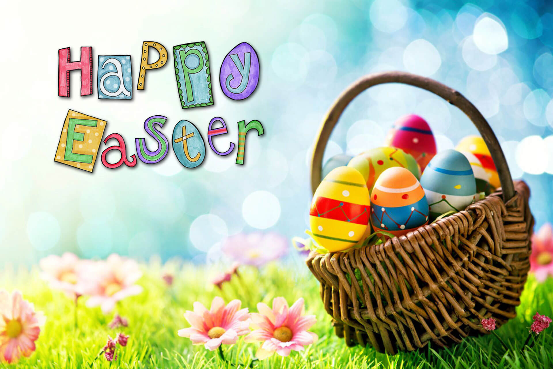 happy easter eggs in basket pc hd wallpaper