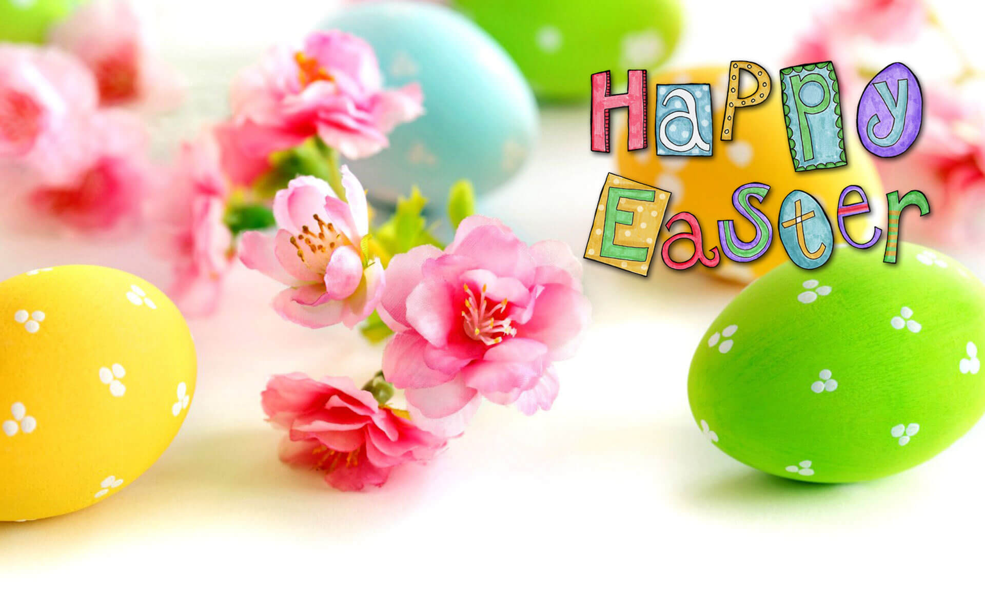 happy easter eggs pink flower greetings hd wallpaper