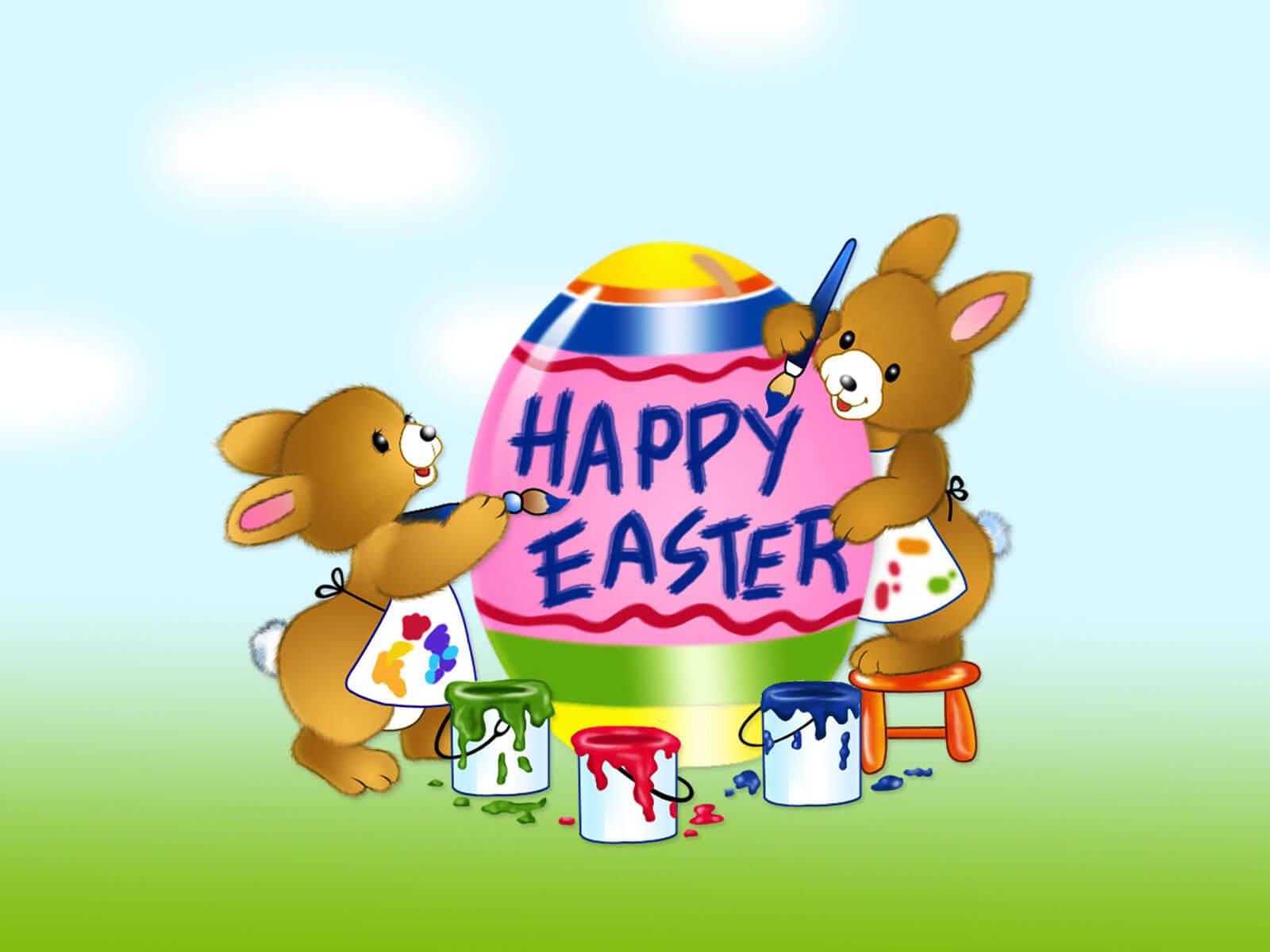 happy easter free rabbit desktop wallpaper