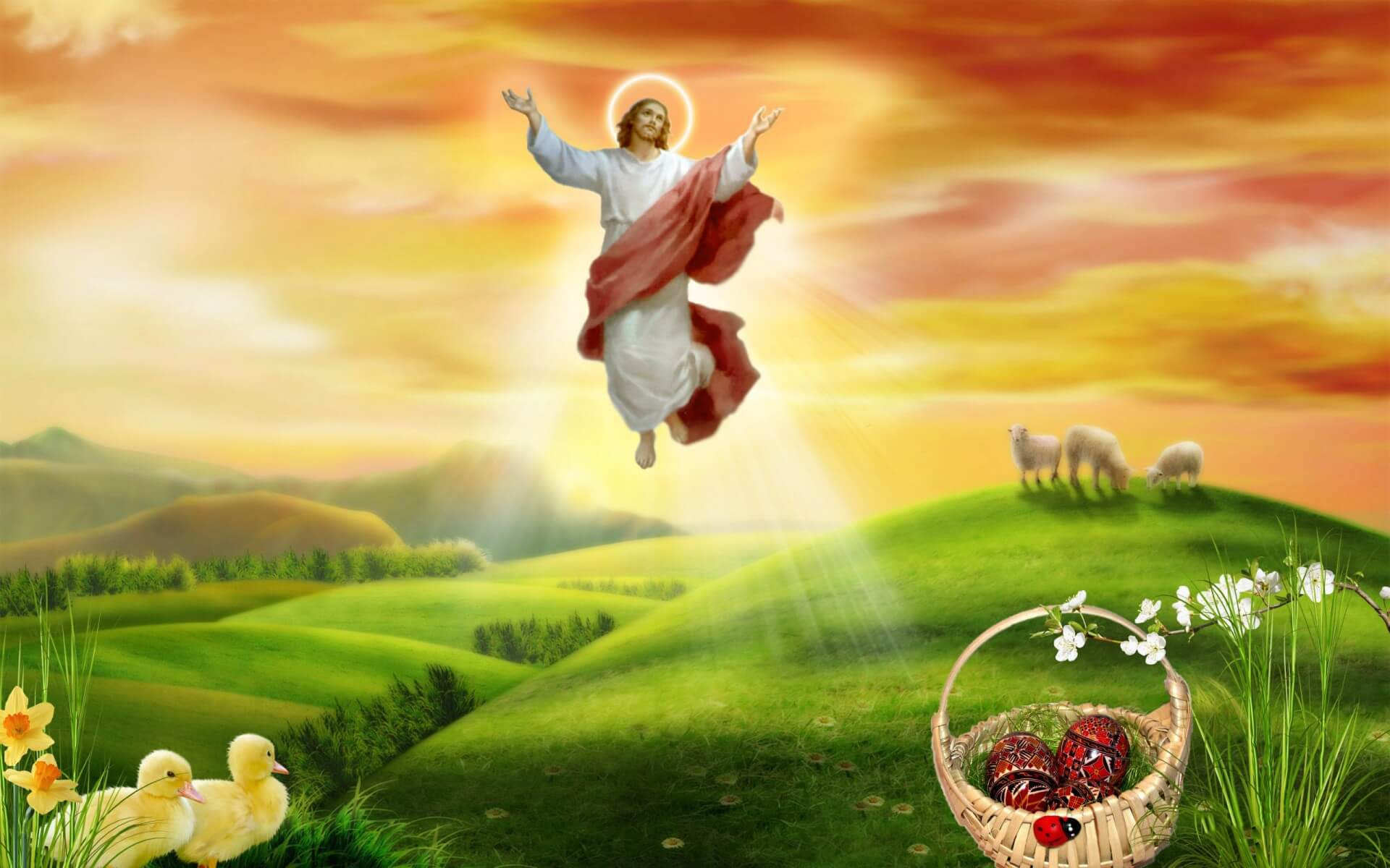 happy easter jesus resurrection art hd wallpaper background