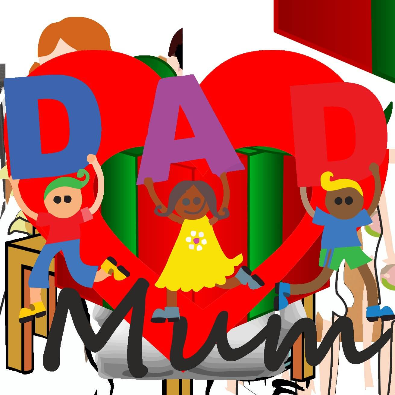 happy fathers day dad colorful art wallpaper