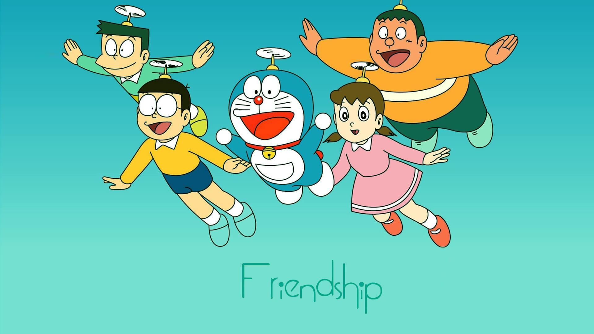 happy friendship day doraemon nobita giyan wallpaper